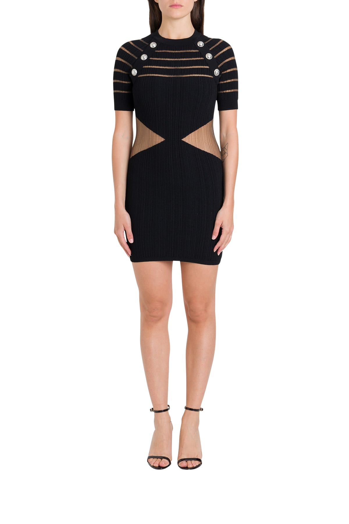 Buy Balmain Sheer Detail And Buttoned Stretch Knit Dress online, shop Balmain with free shipping