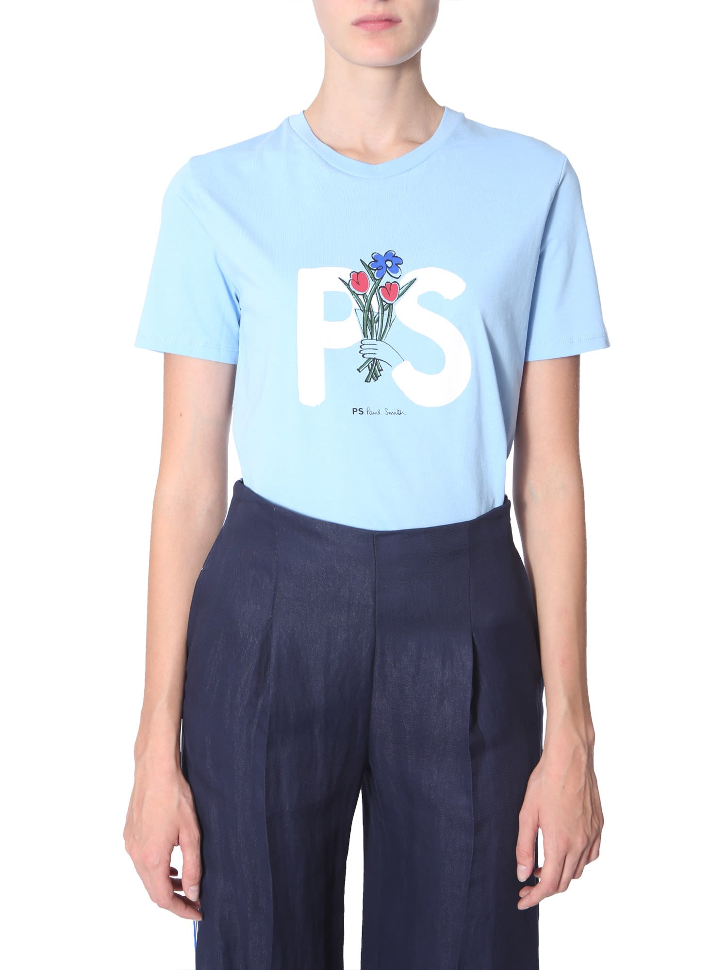Ps By Paul Smith T-Shirt With Logo Print In Azzurro