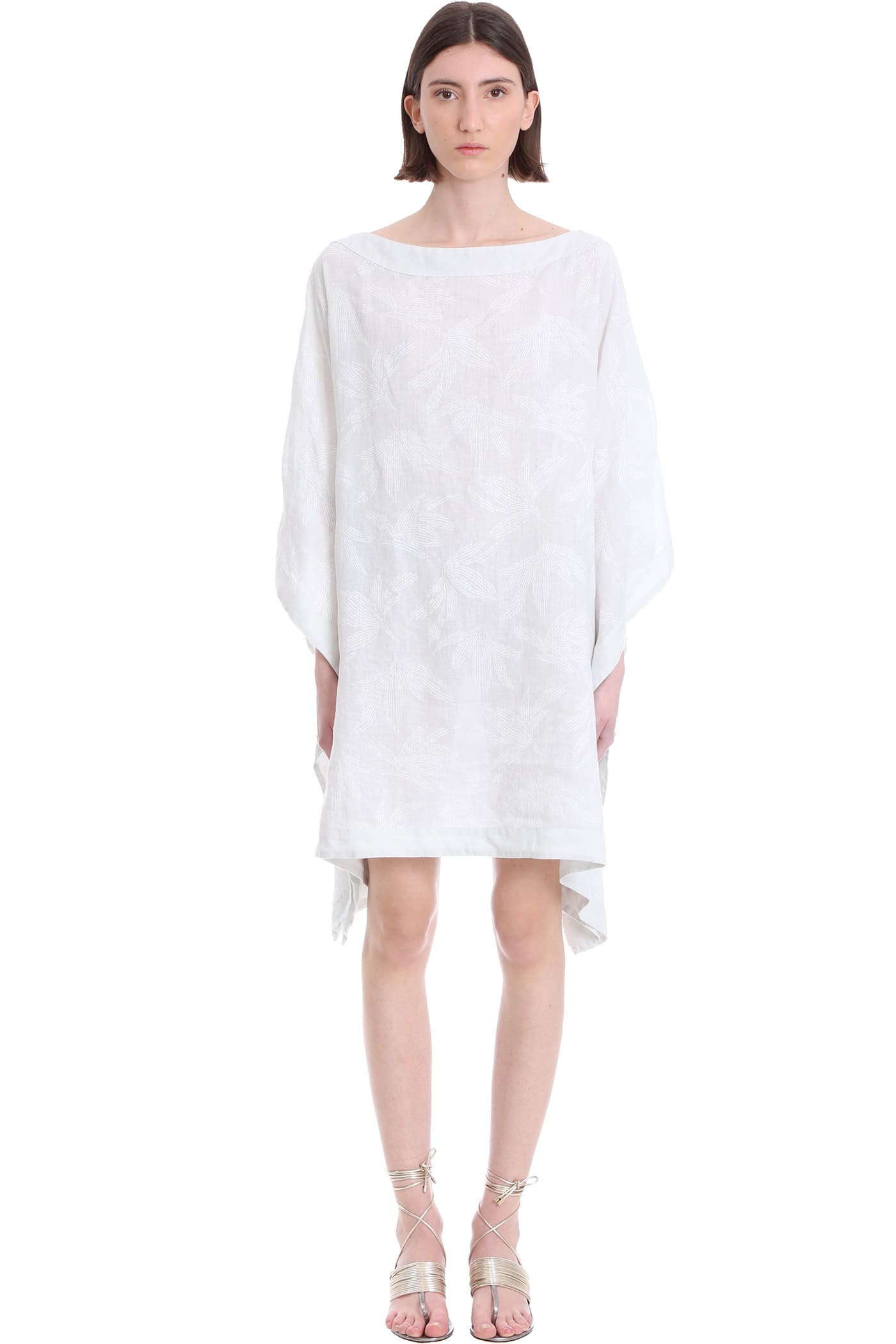 Buy 120% Lino Dress In White Linen online, shop 120 Lino with free shipping