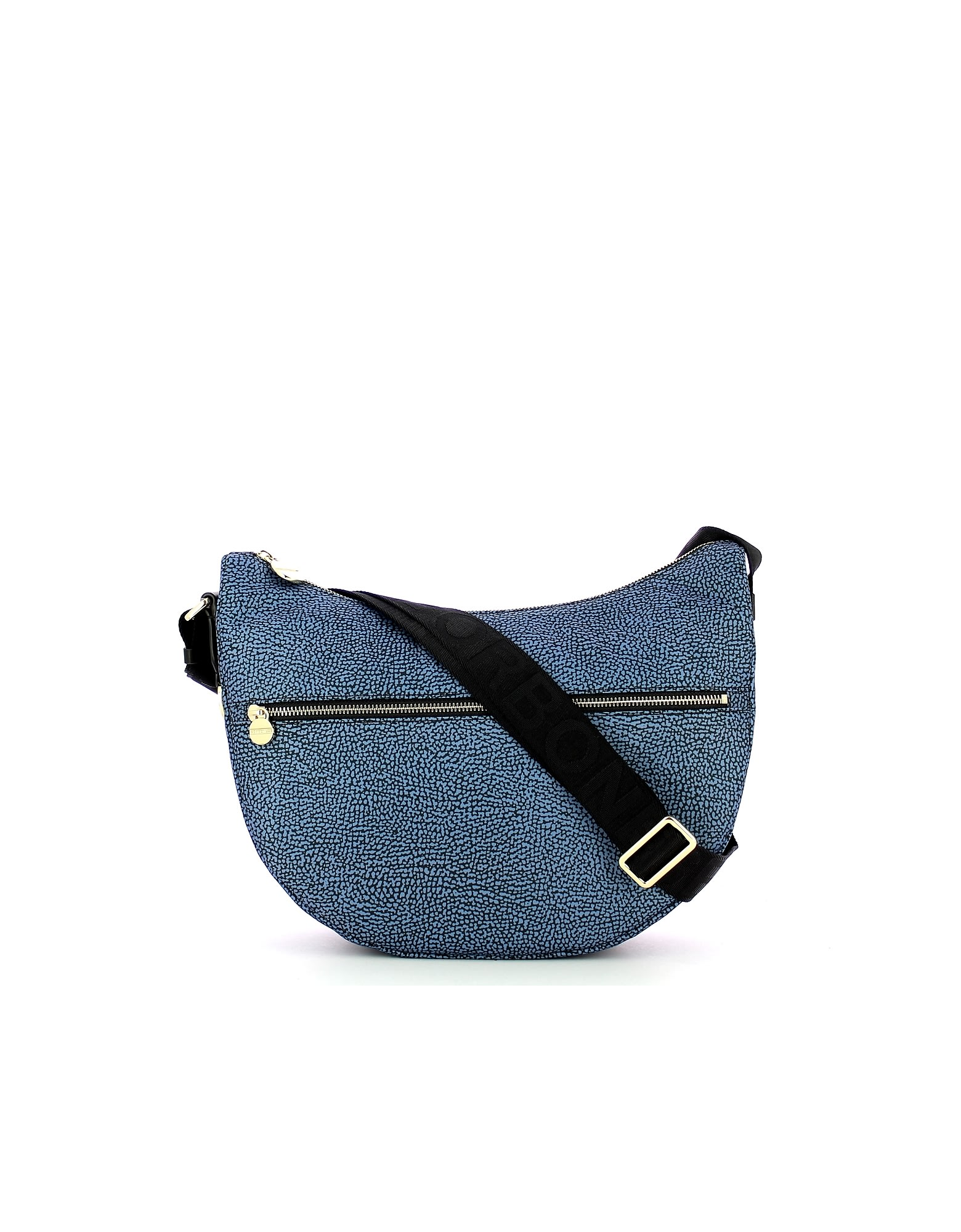 Borbonese BLUE MIDDLE HALF-MOON SHOULDER BAG