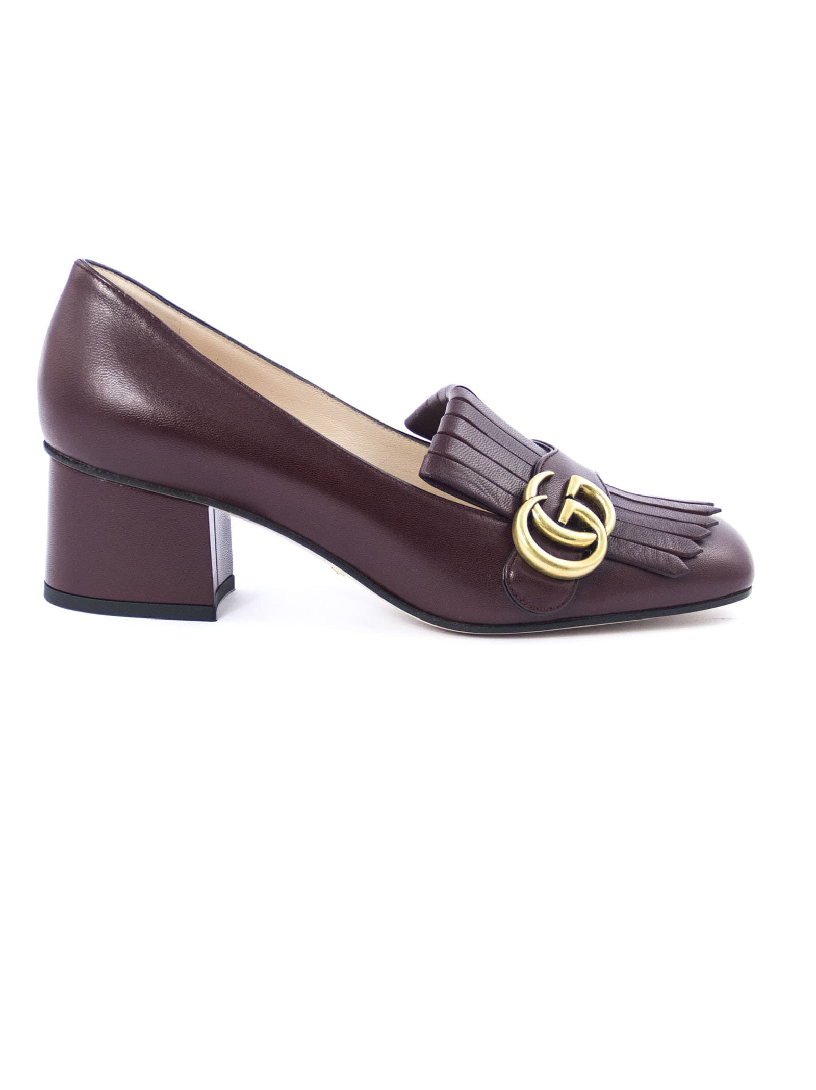 Gucci Bordeaux Leather Mid-Heel Pump In Bordo