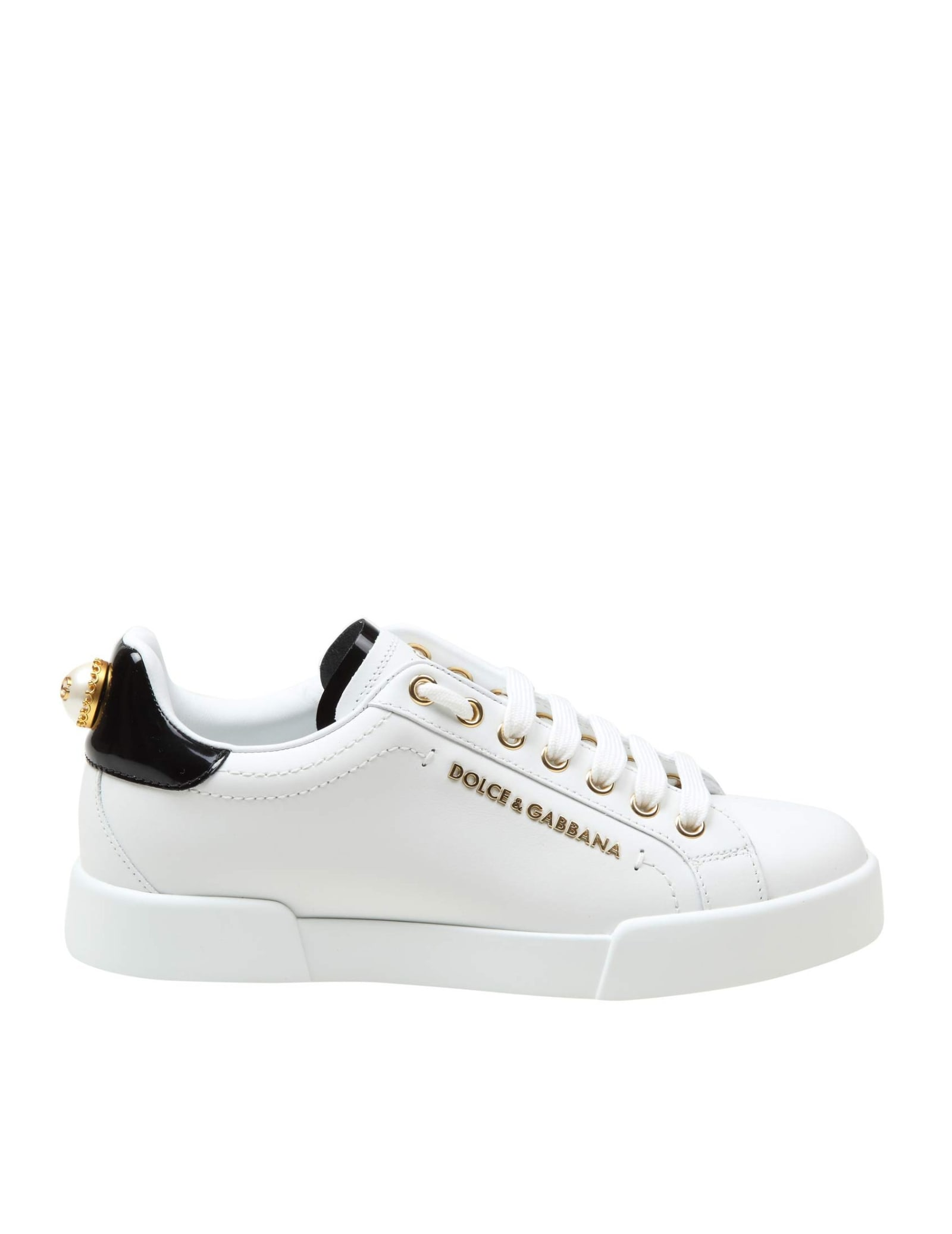 Dolce & Gabbana WHITE LEATHER SNEAKERS WOMAN WITH LOGO PEARL