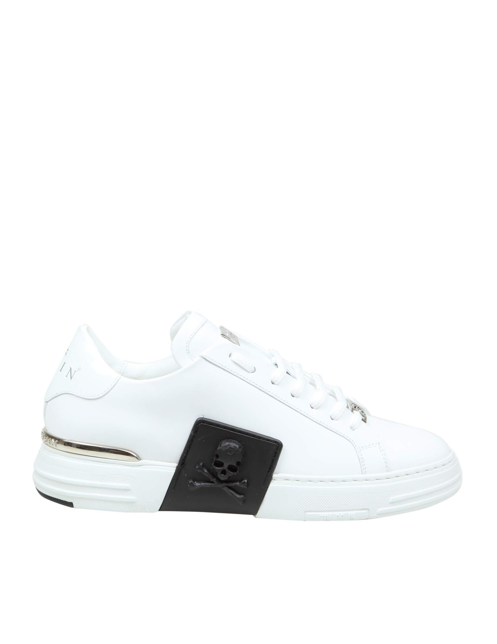 Philipp Plein SNEAKER LO-TOP PHANTOM KICK $ RUBBERIZED IN WHITE LEATHER