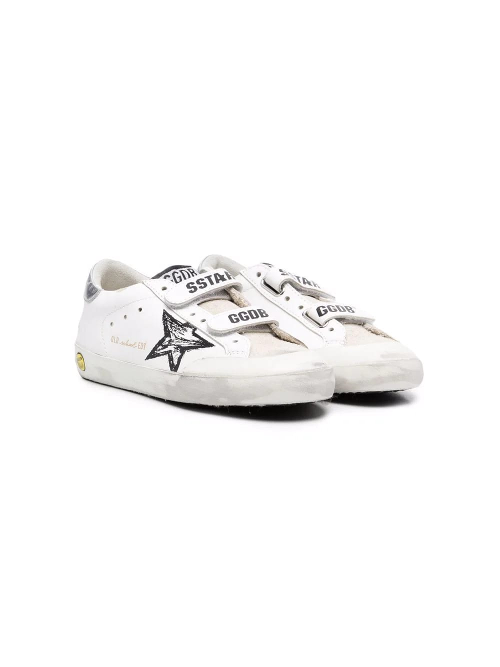 Golden Goose Junior White And Silver Metallic Super-star Sneakers With Velcro Closure