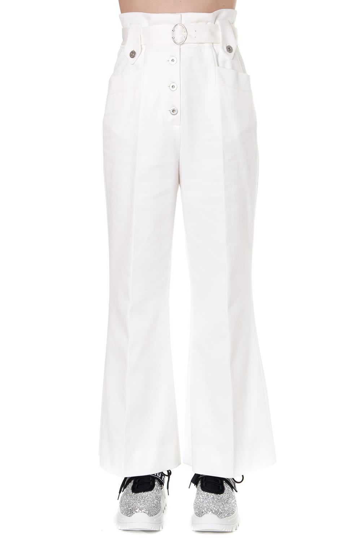 Miu Miu White Cotton Tailored High Waist Pants