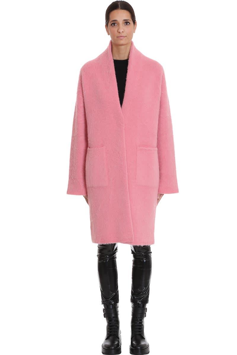 Laneus Coat In Rose-pink Wool