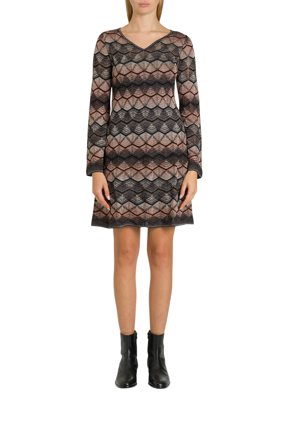 M Missoni Knitted Lurex Dress With Wave Motif