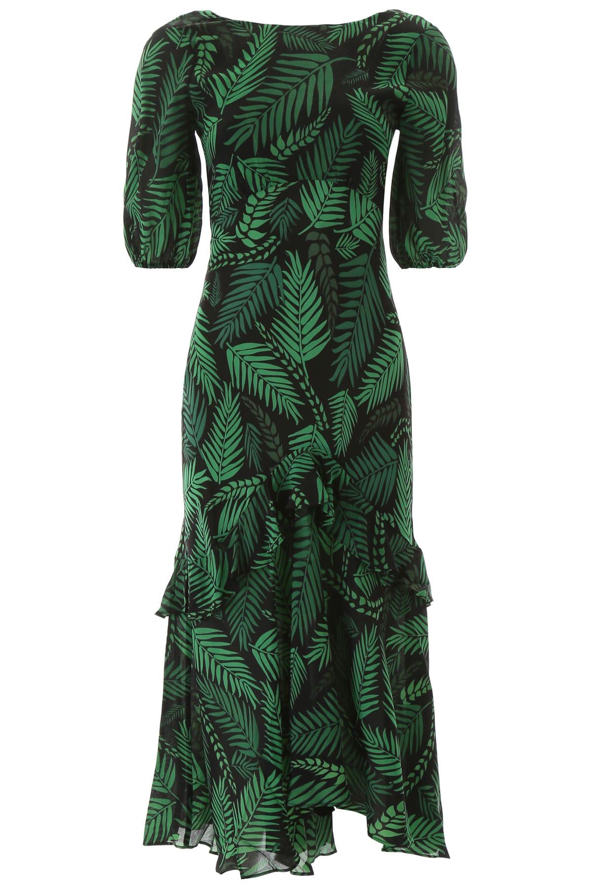 RIXO Palm Print Dress