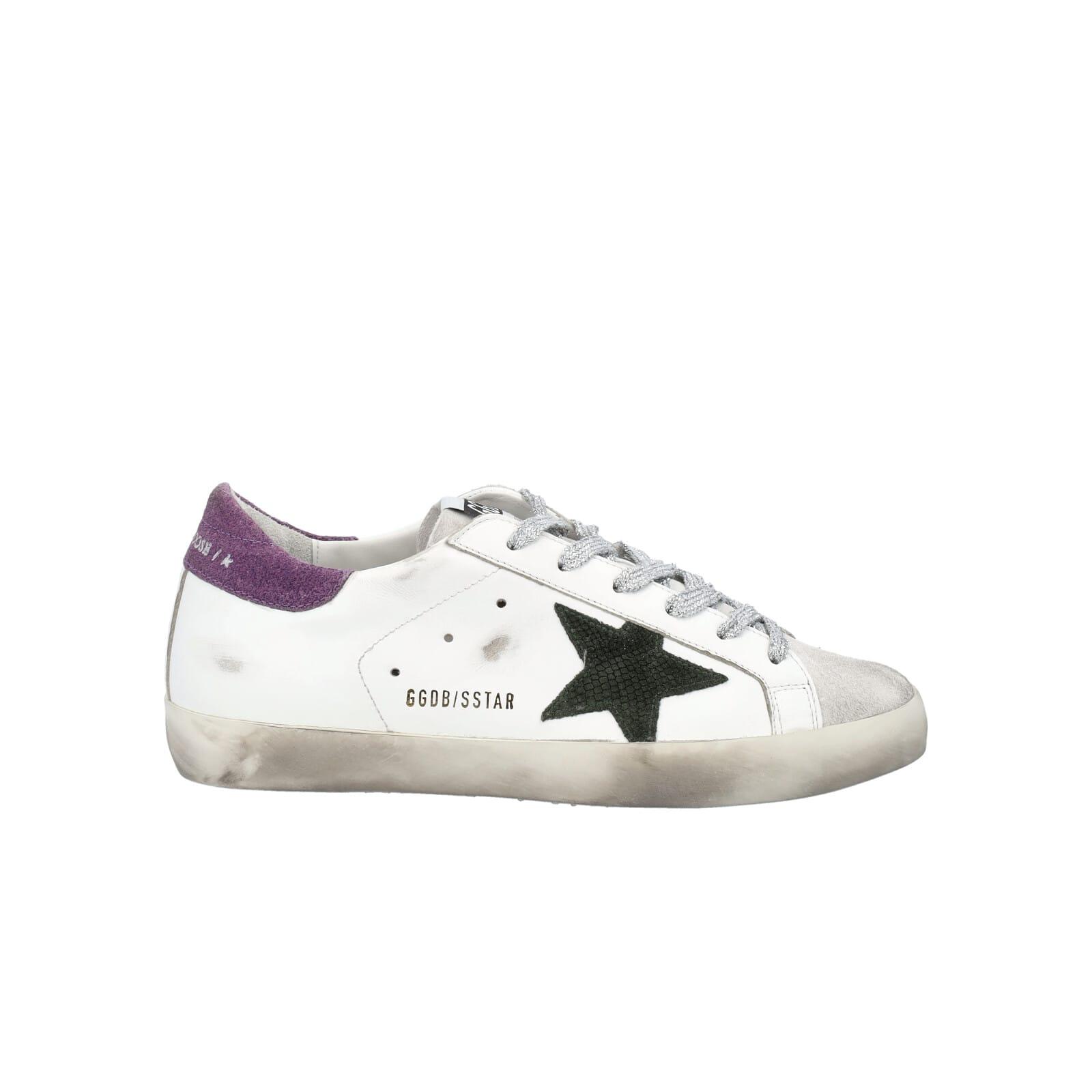 Golden Goose Superstar Sneakers With Purple Suede Heel Tab