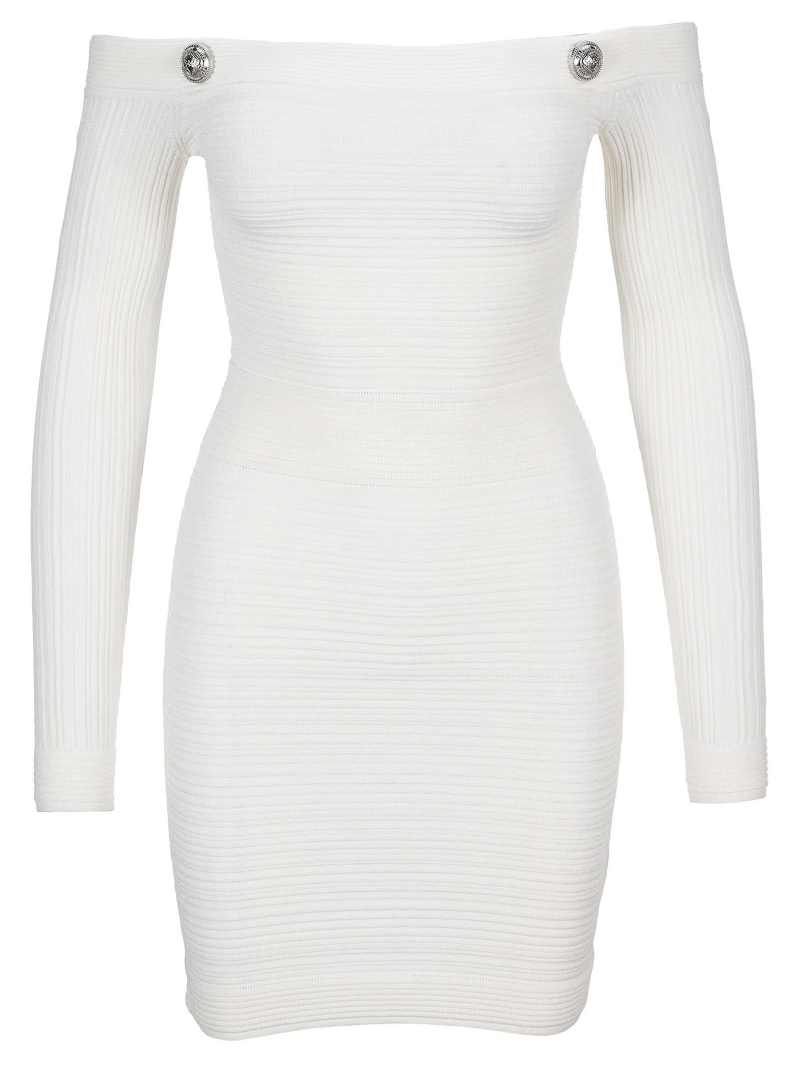 Buy Balmain Off The Shoulder Knit Dress online, shop Balmain with free shipping