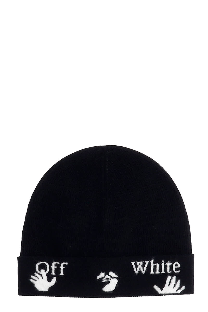 Off-White FELTED BEANIE HATS IN BLACK WOOL