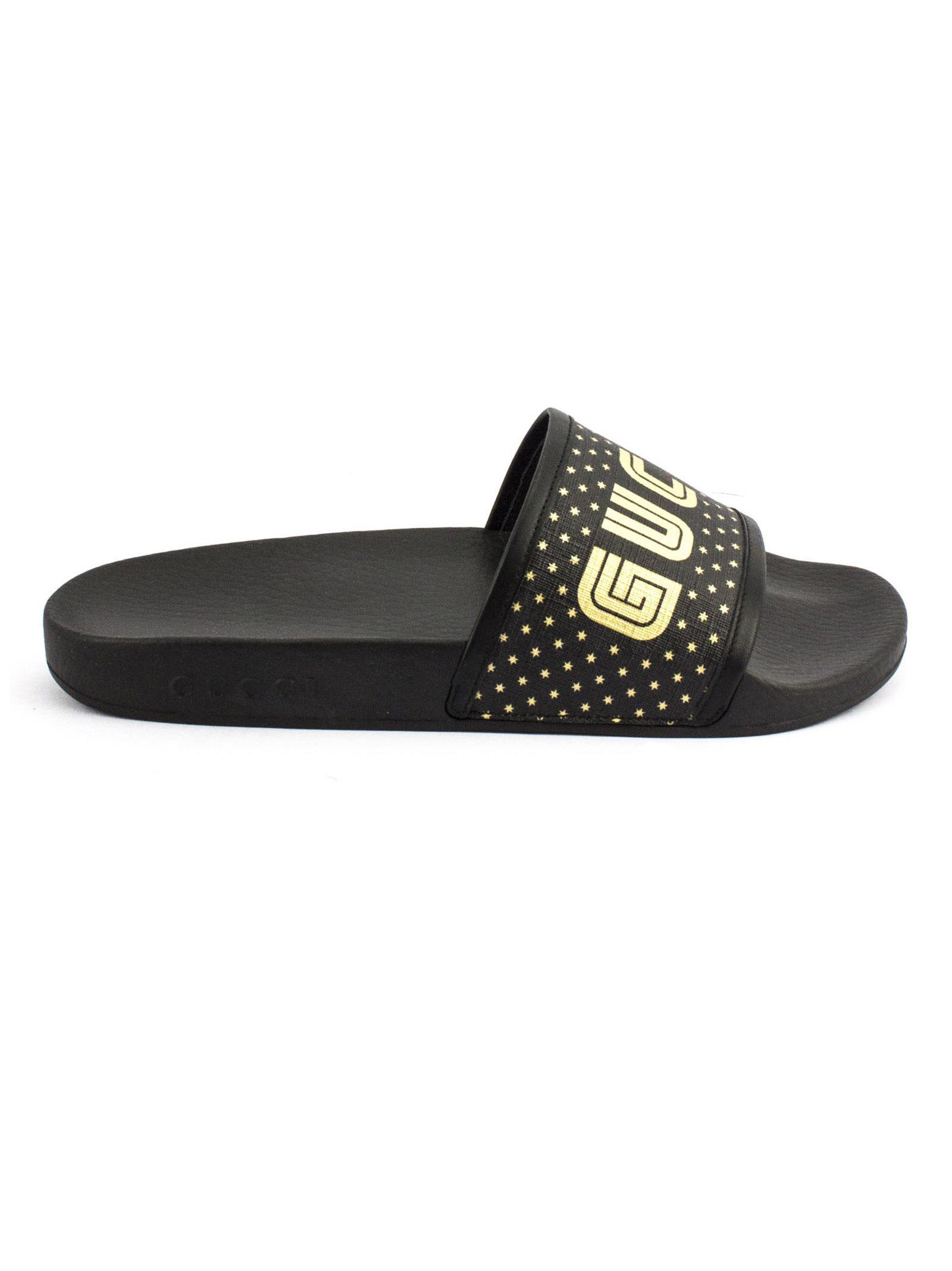 d4eed4ca4 Gucci Gucci Black Supreme Canvas Guccy Print Slide - Nero - 10565822 ...