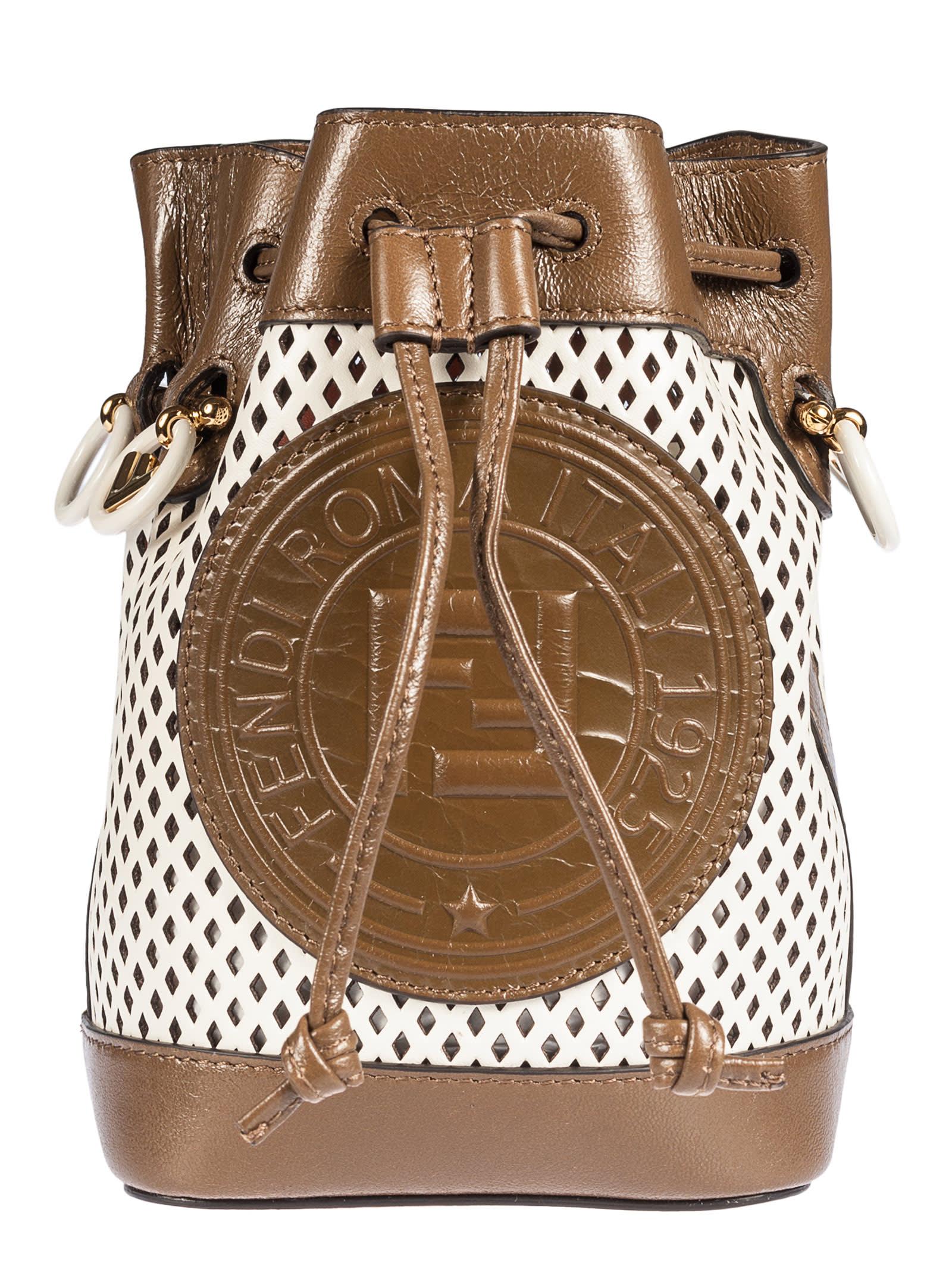 Fendi Mini Mon Tresor Perforated Bucket Bag