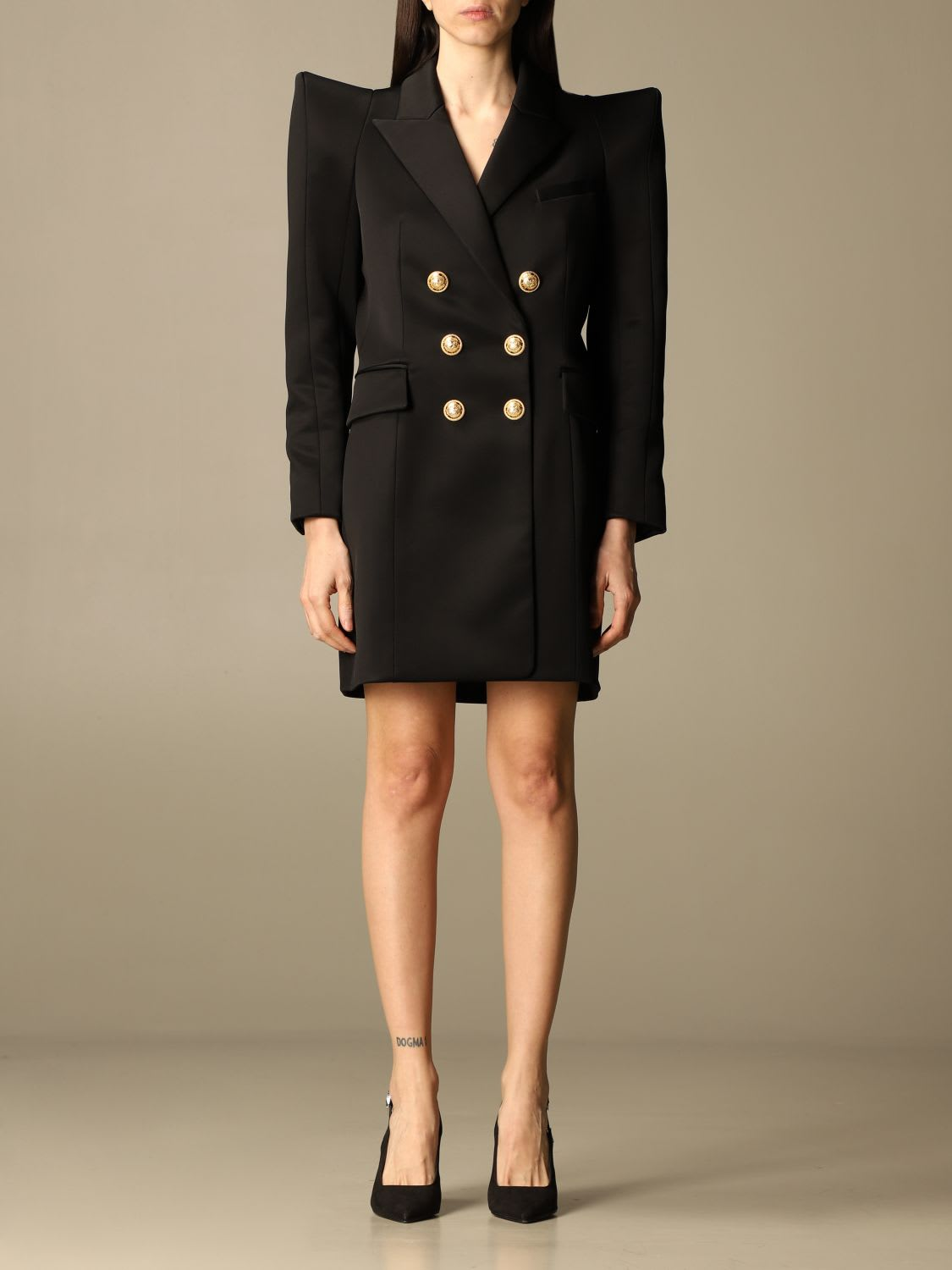 Buy Balmain Dress Double-breasted 6 Buttons Wide Shoulder online, shop Balmain with free shipping