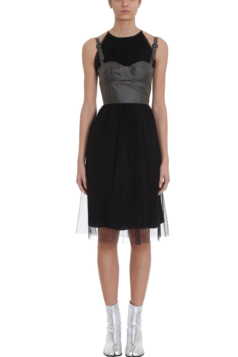 Maison Margiela Pleated Black Tulle Dress