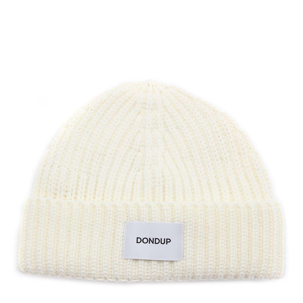 Dondup MILK WHITE WOOL BLEND HAT WITH LOGO