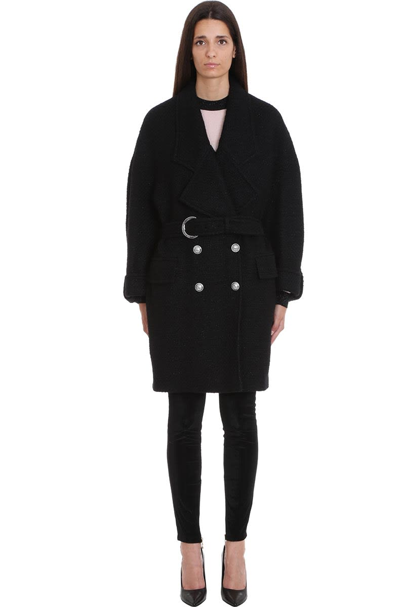 Balmain Coat In Black Wool