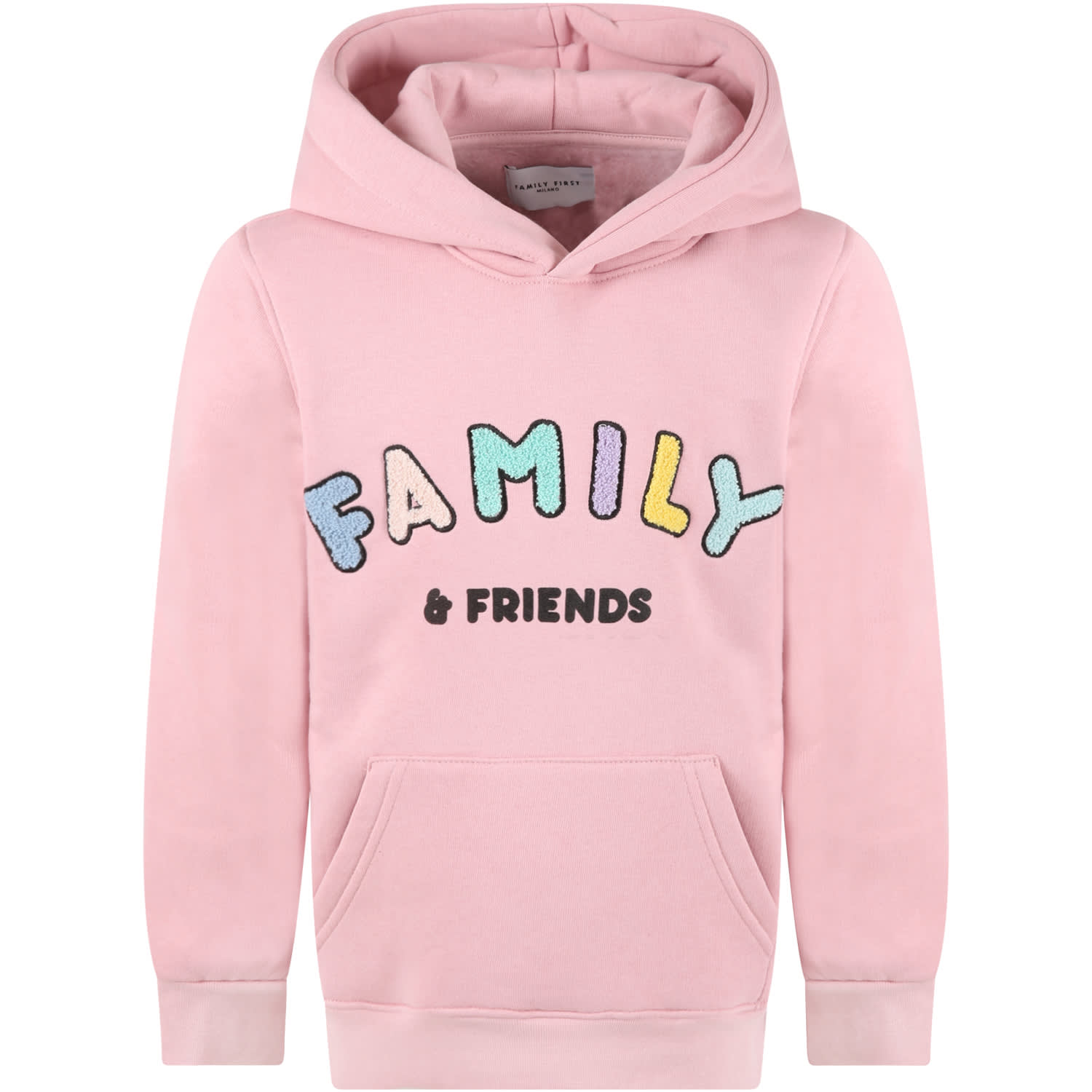 Pink Sweatshirt For Girl With Colorful Logo