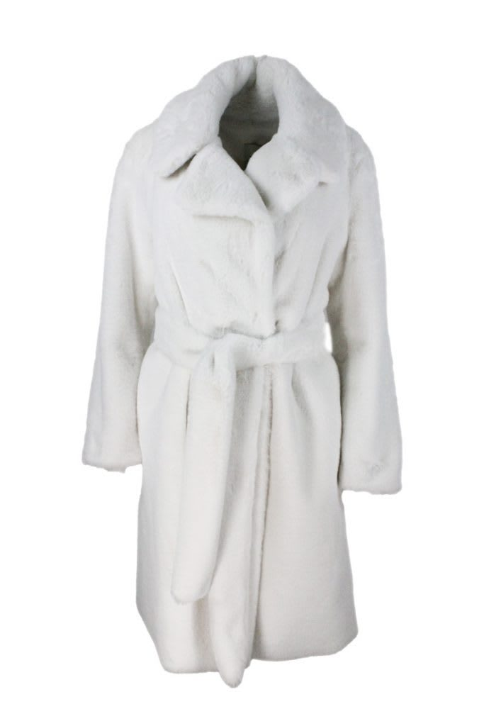 Faux Fur Coat With Button Closure And Belt At The Waist