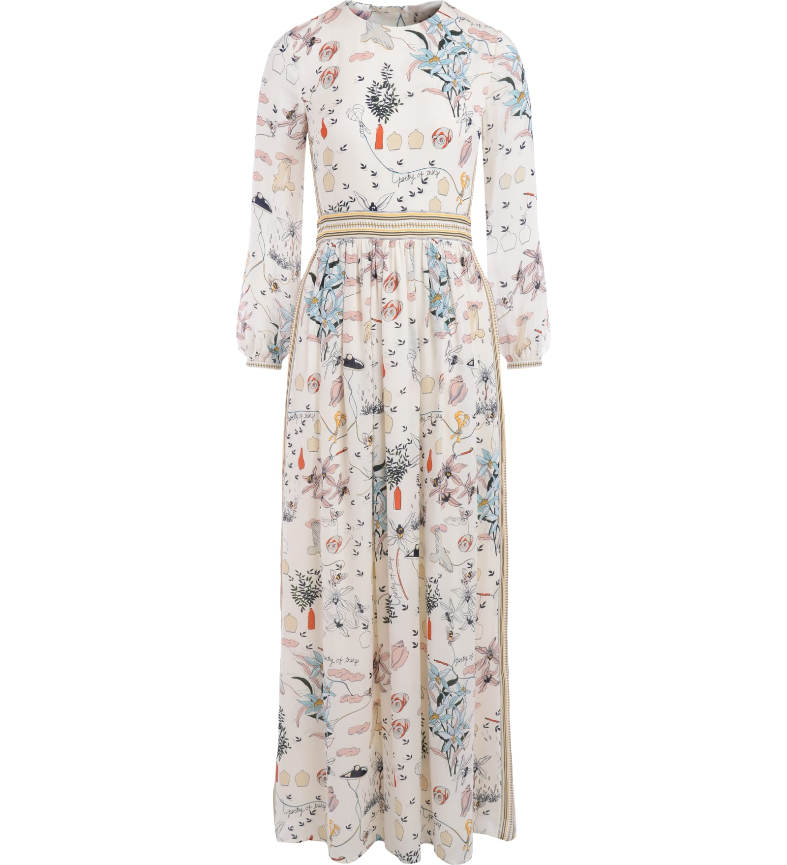 Long Tory Burch Silk Dress With Vintage Print