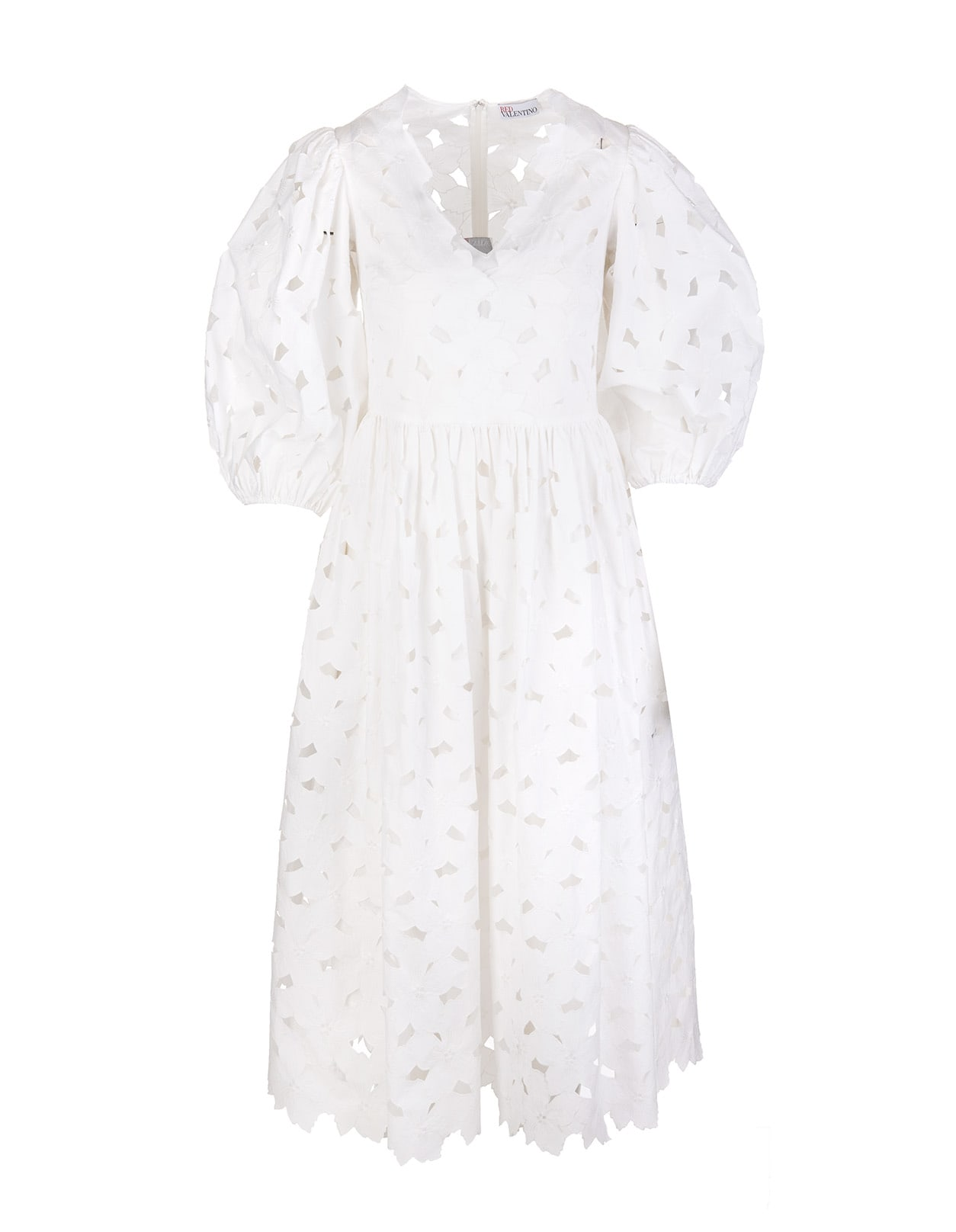 Buy RED Valentino White Cotton Poplin Midi Dress With Cut-out Flowers Embroidery online, shop RED Valentino with free shipping