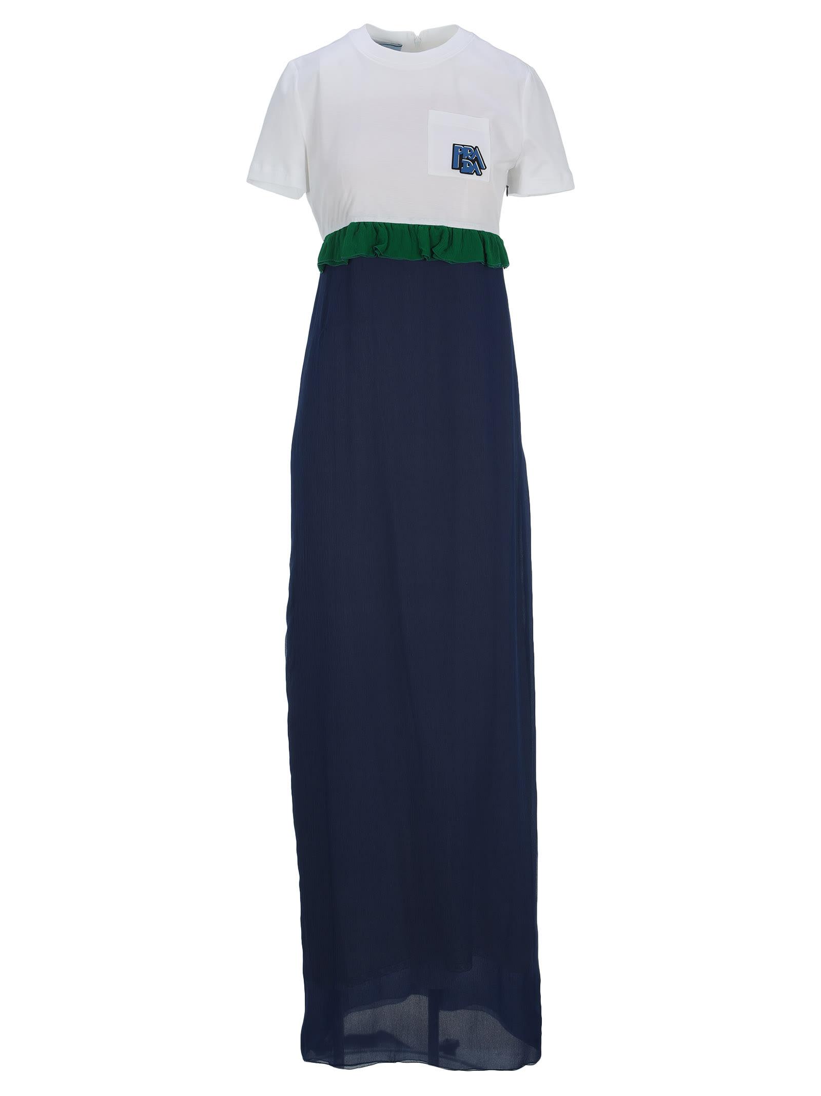 Photo of  Prada Prada Long Ruffle-trim Dress- shop Prada  online sales