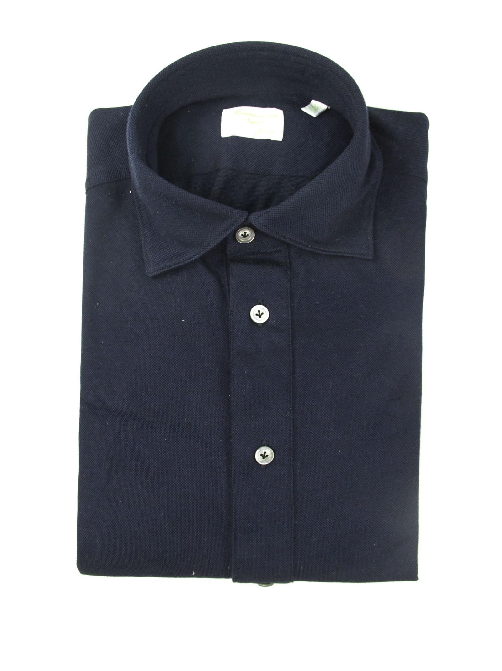 Finamore Blue Cotton Shirt