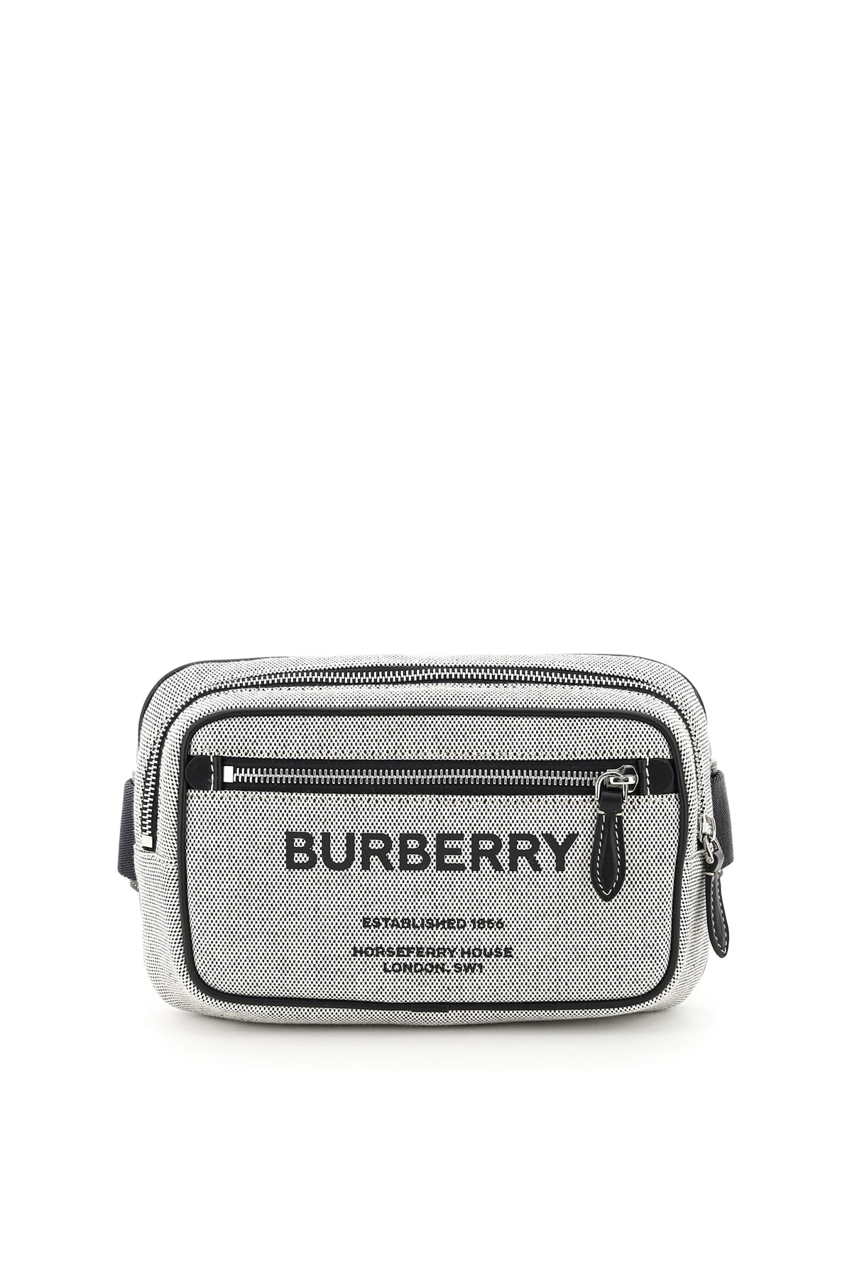Burberry Leathers WEST CANVAS BELT BAG WITH LOGO