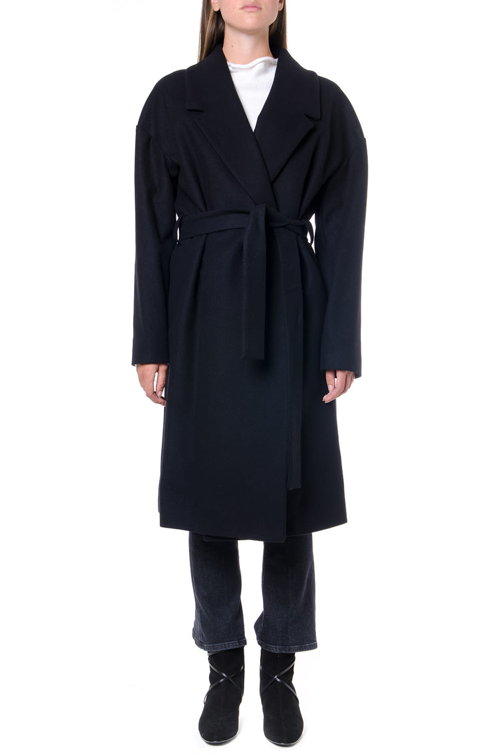 Dondup Wraped Design Black Wool Coat