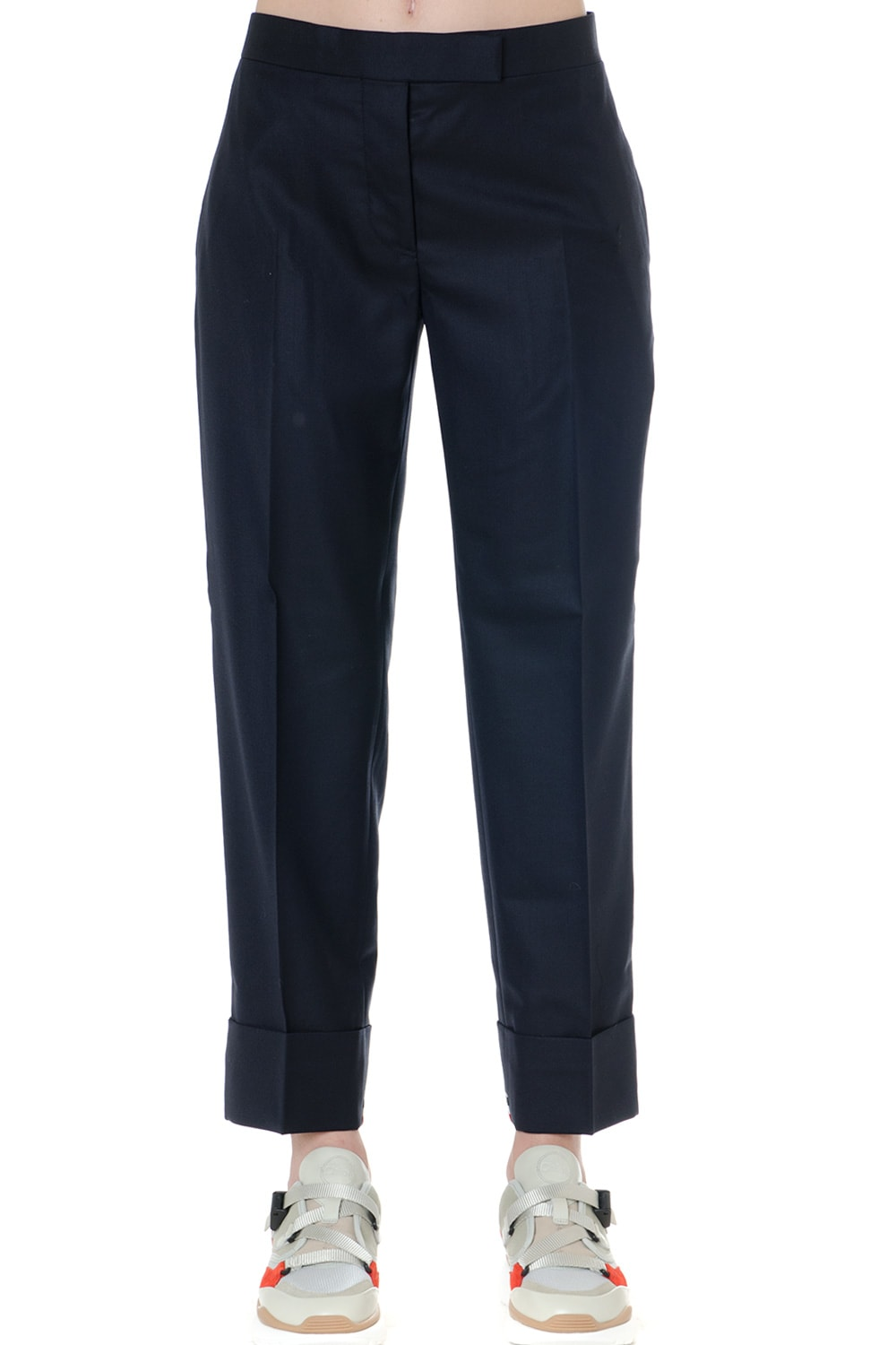 Thom Browne Pants In Navy Wool With Iconic Tricolor Trim