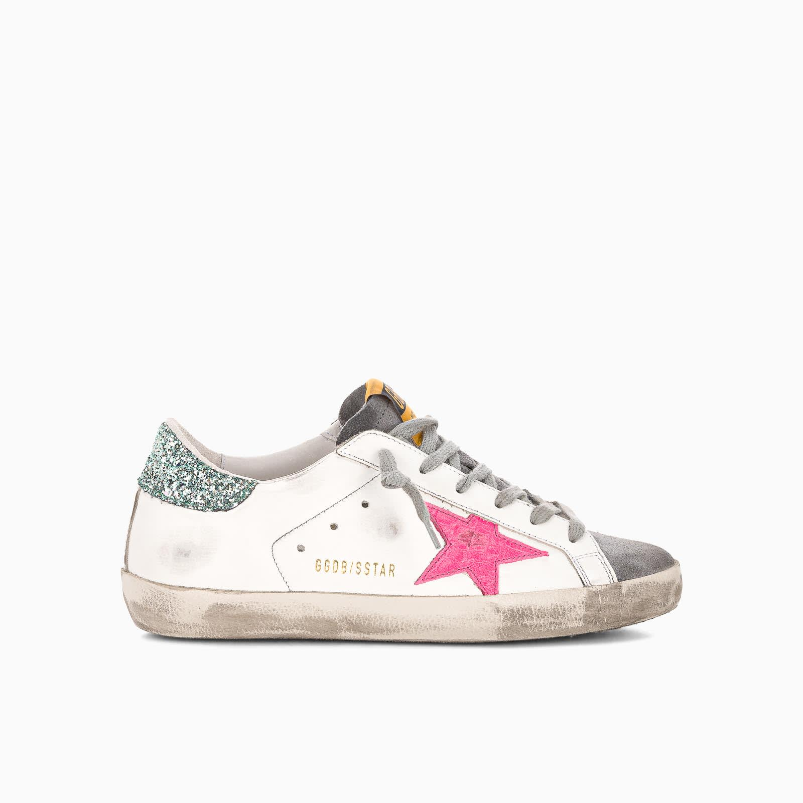 Golden Goose Leathers WHITE LEATHER SUPER-STAR SNEAKERS WITH GLITTERY HEEL TAB