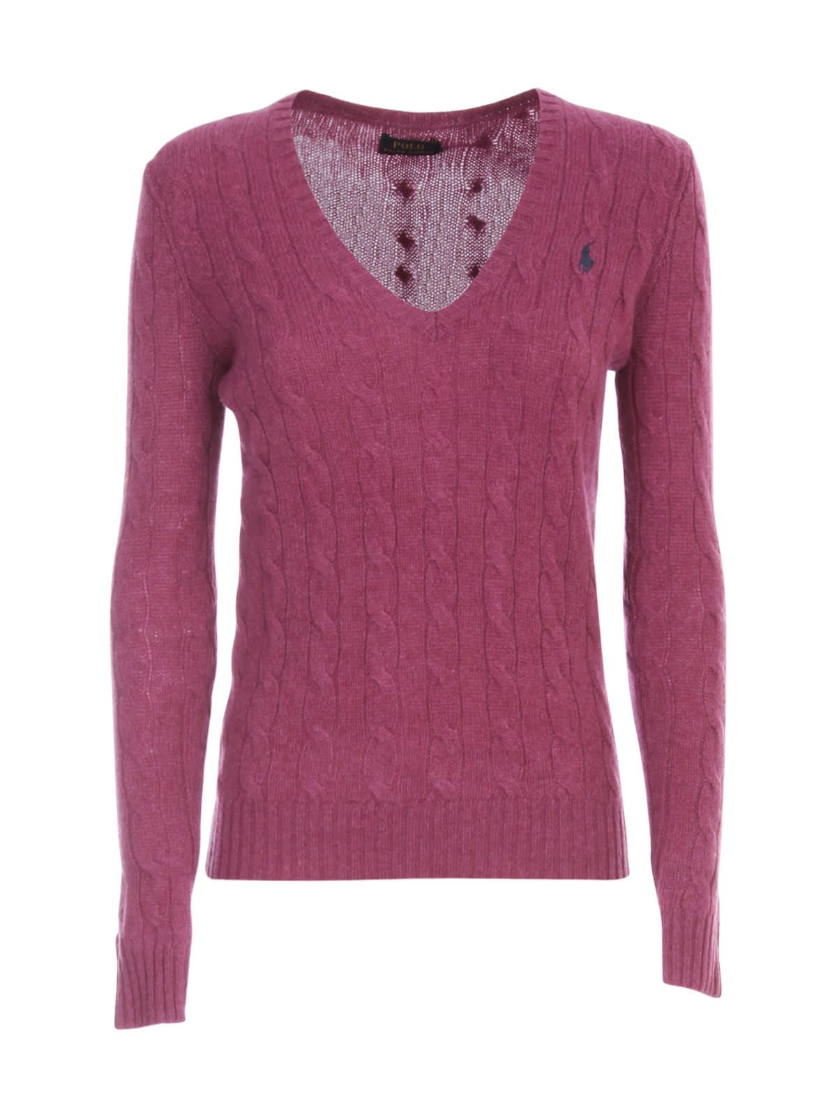 Polo Ralph Lauren Sweater V Neck Neck W/braids
