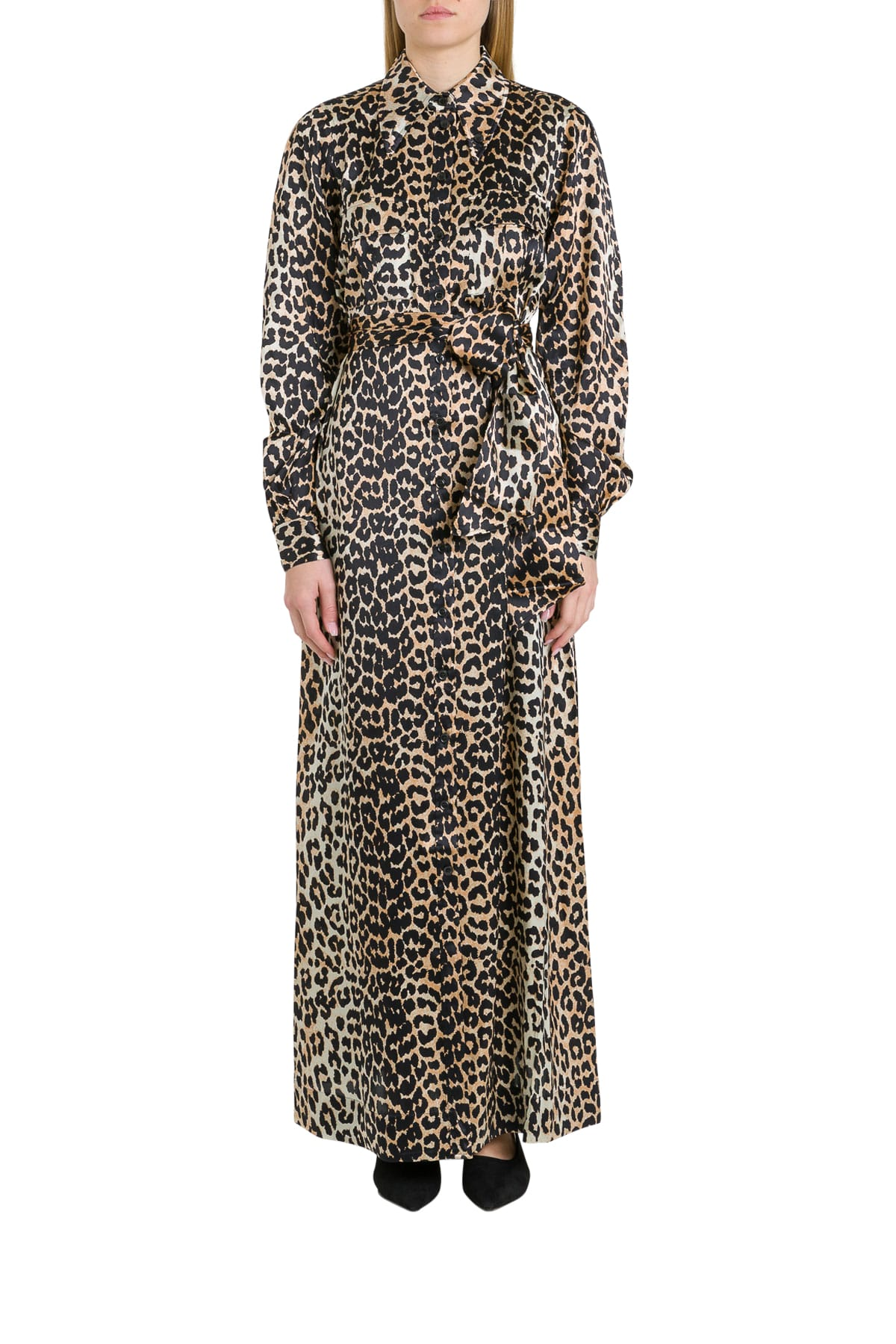 Buy Ganni Pinafore Dress In Leopard Silk online, shop Ganni with free shipping