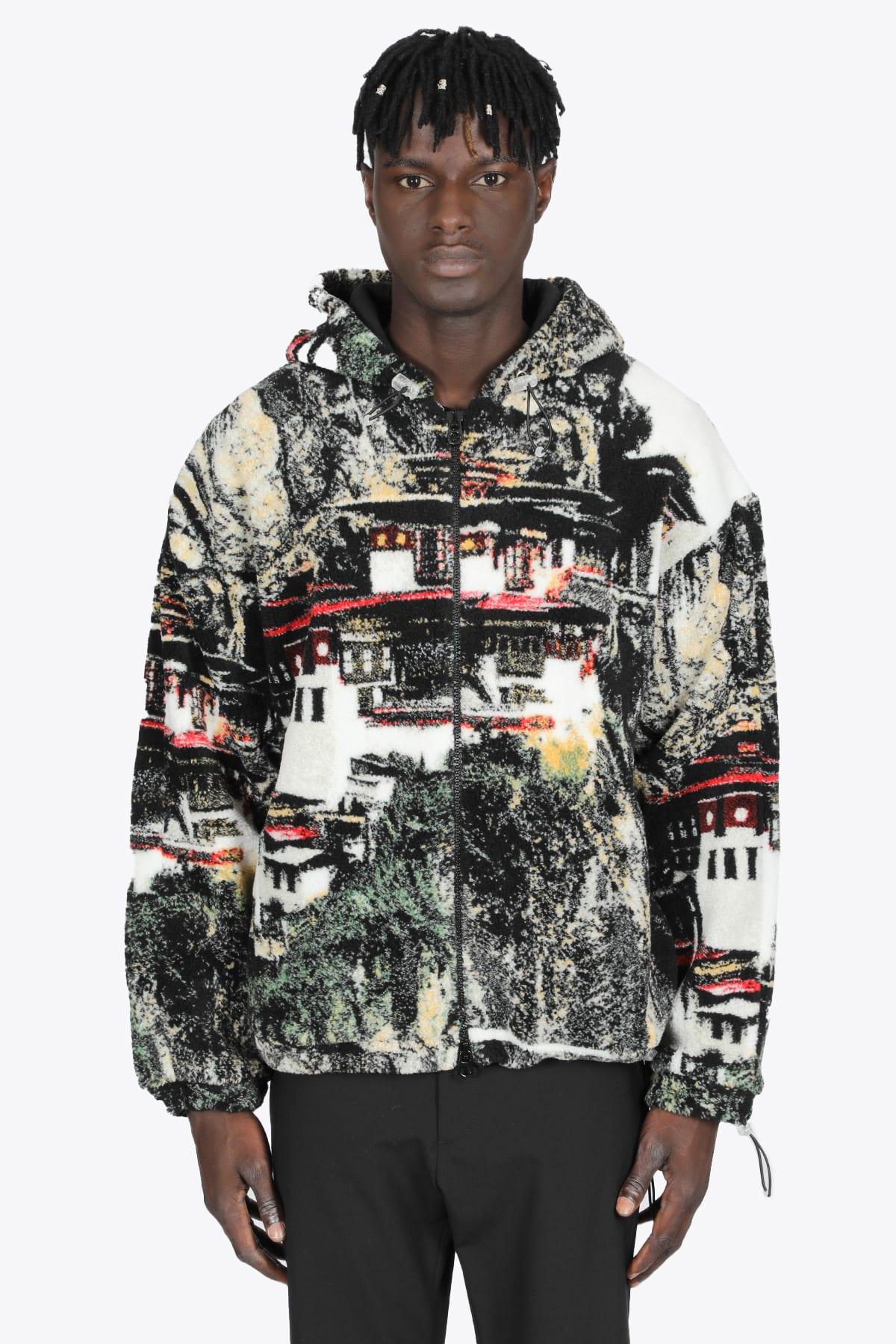 Multicolor Pagoda Fleece Hooded Jacket