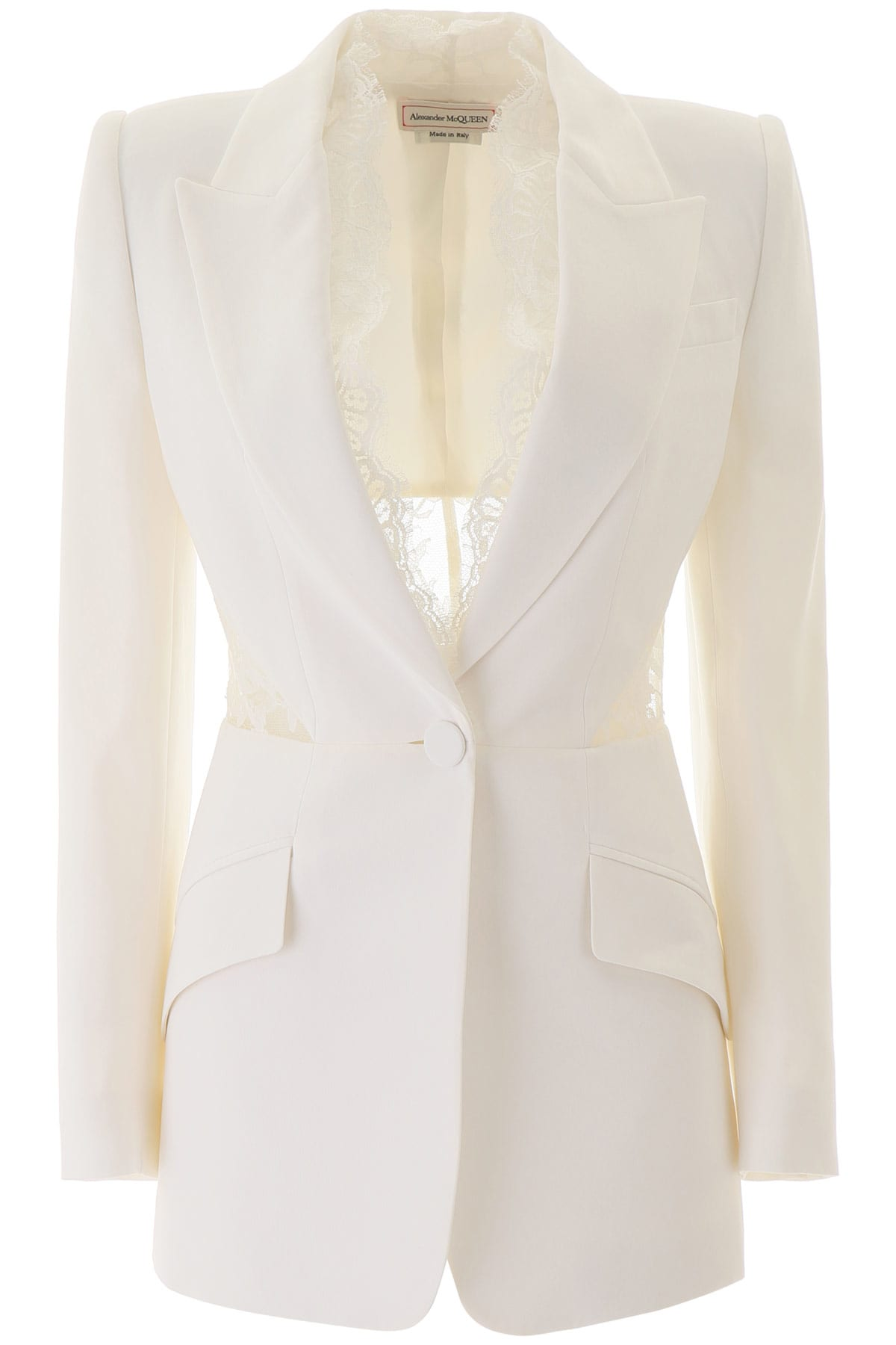 Blazer With Lace Inserts
