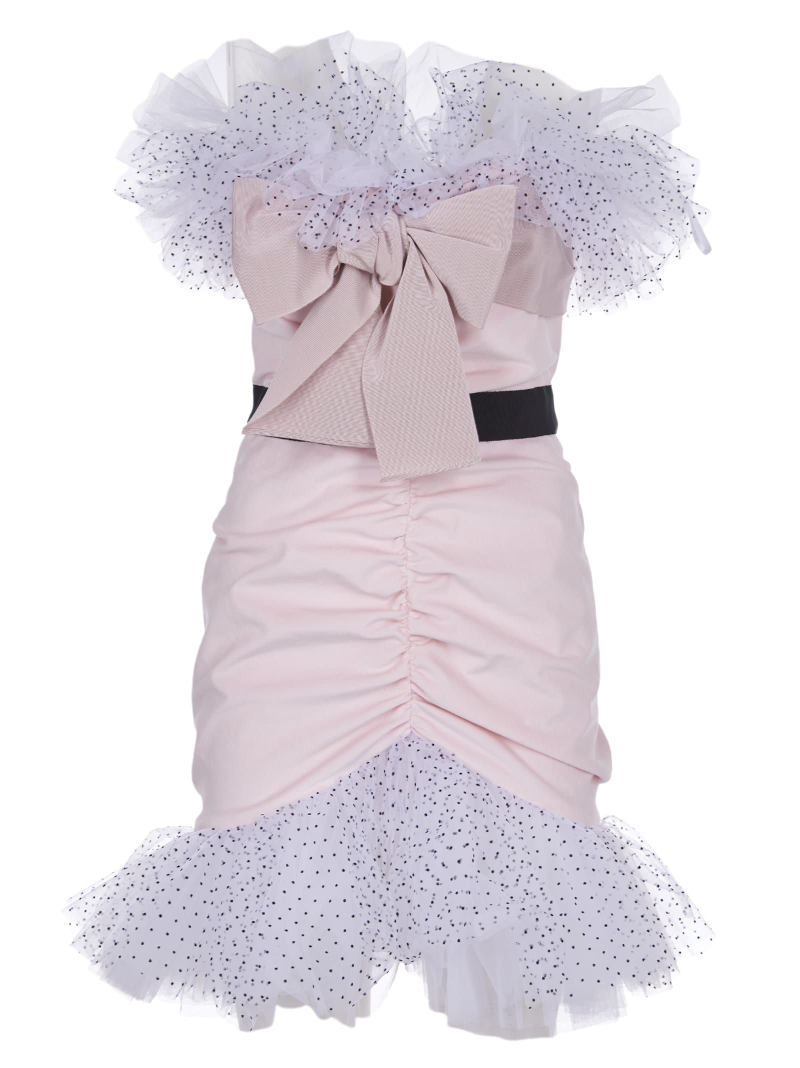 Brognano Little Pink Dress With Bow And Tulle