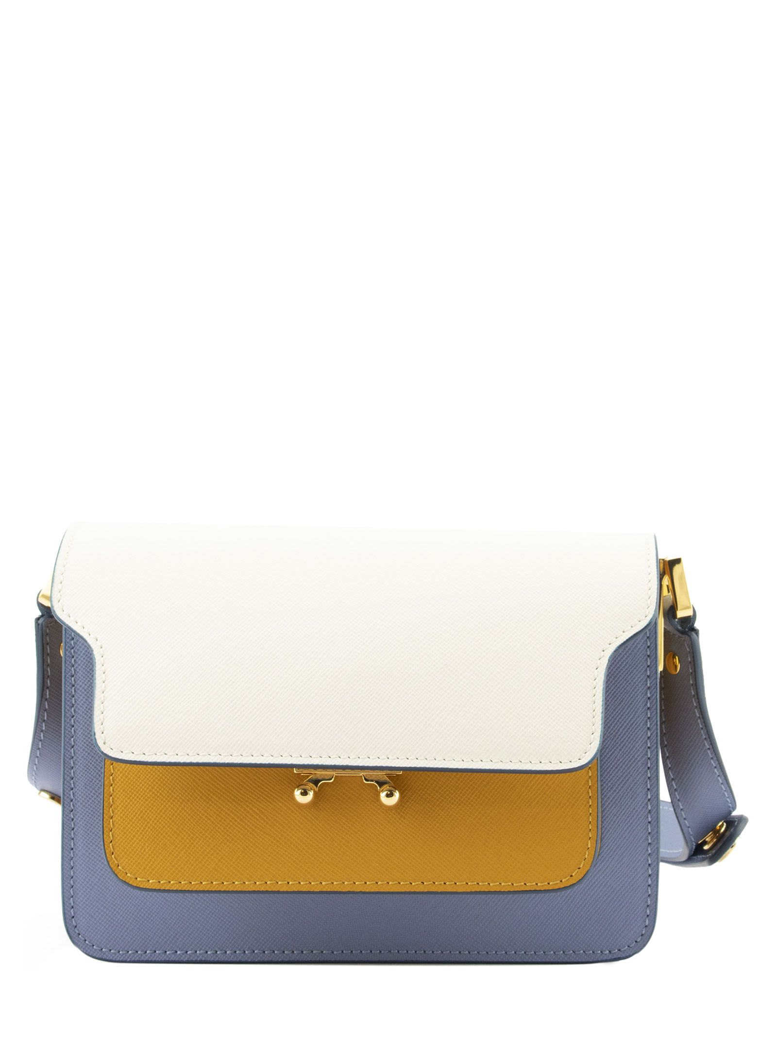 Marni Pants TRUNK MINIBAG IN SAFFIANO LEATHER NATUR WHITE YELLOW AND PALE BLUE