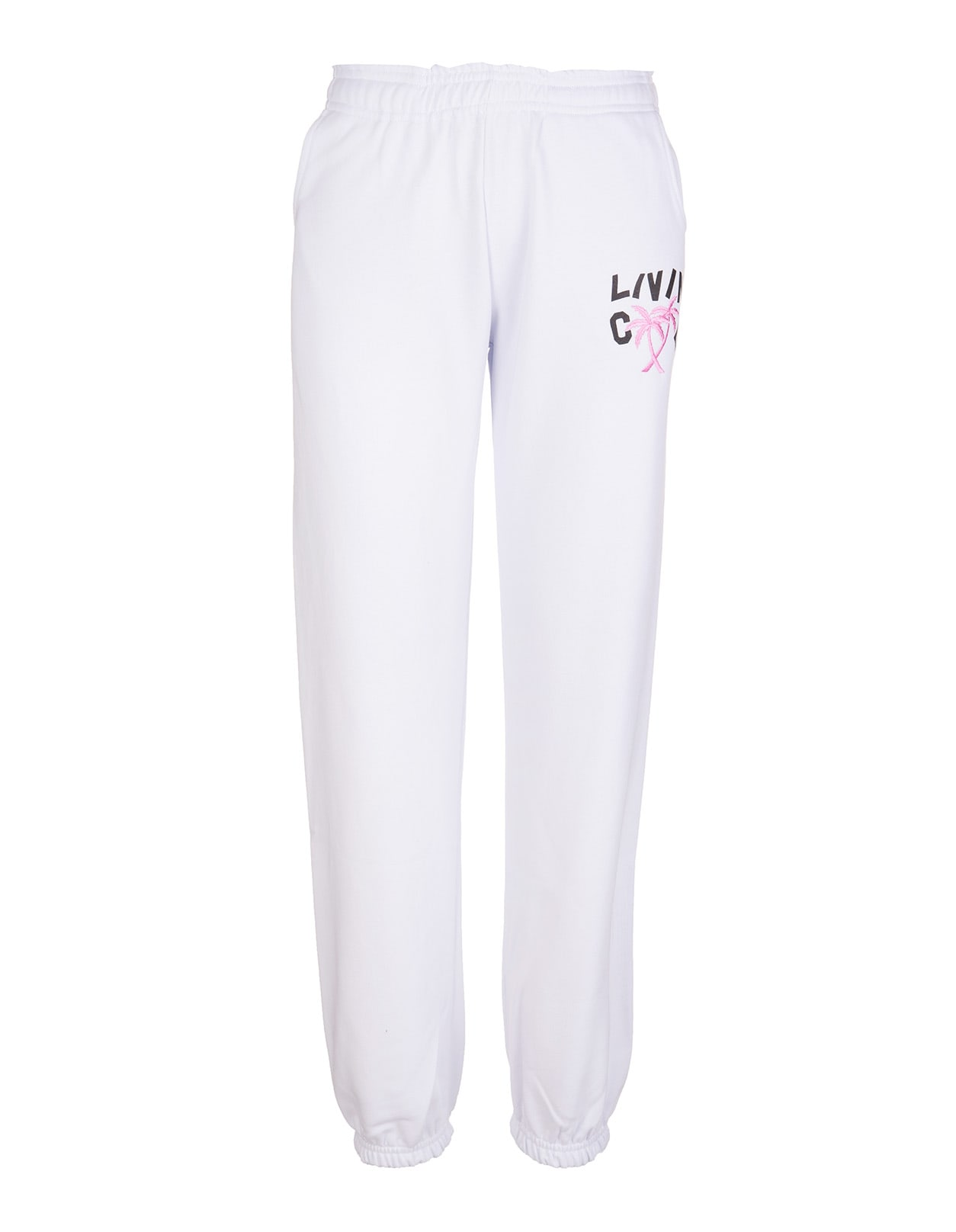 Woman White Joggers With Logo And Palms