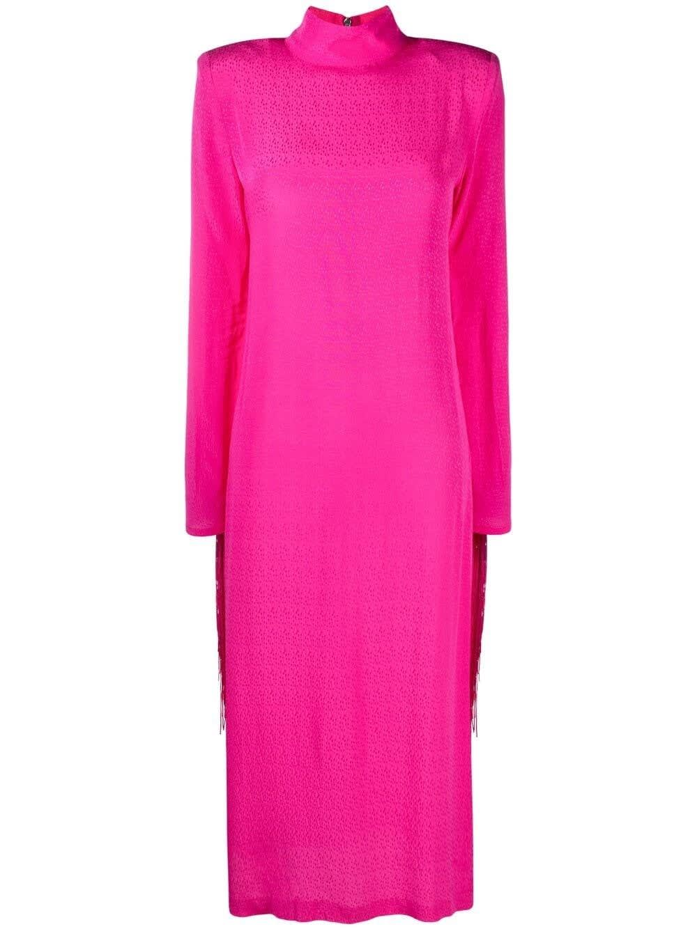 Rotate Birger Christensen Dresses REBA PINK DRESS WITH FRINGES