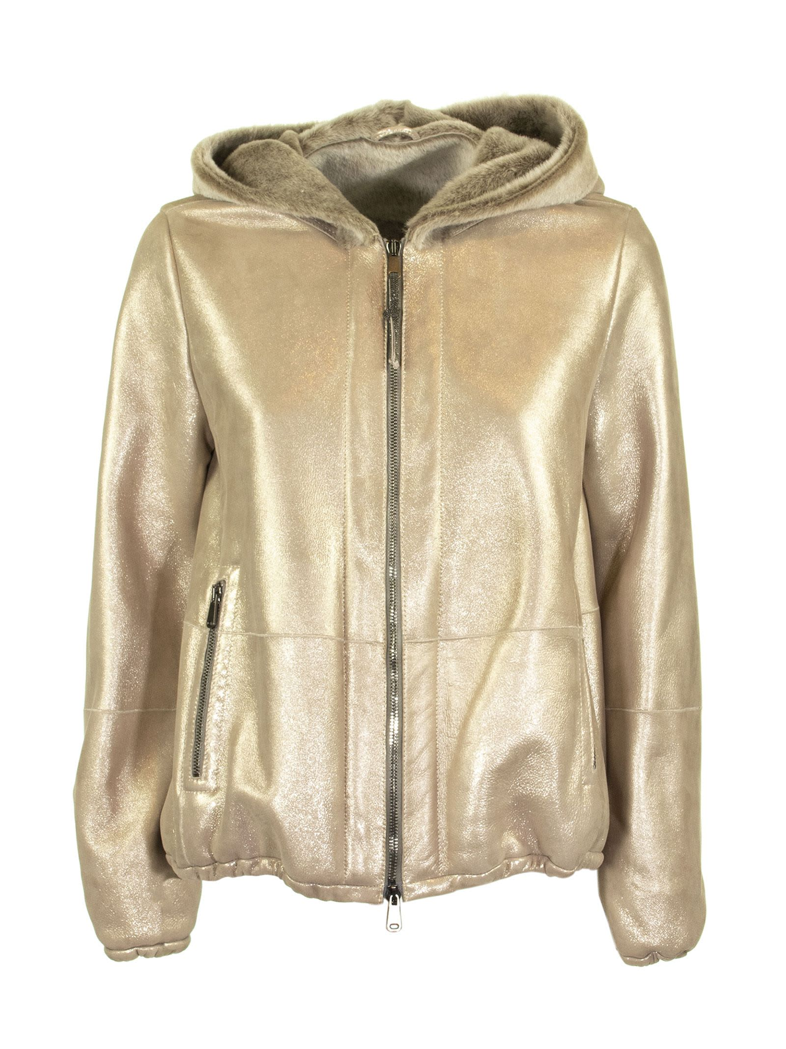 Brunello Cucinelli Sparkling Shearling Outerwear Jacket With Monili