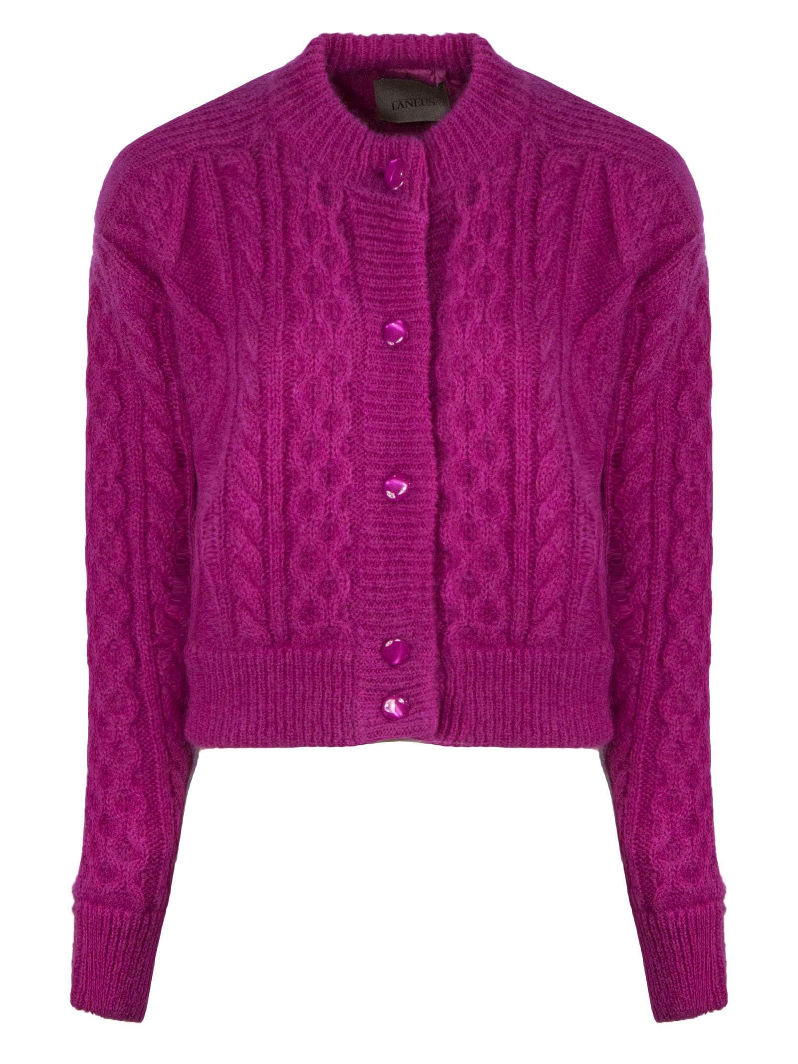 Laneus Fuchsia Mohair Wool-blend Cardigan In Fuxia