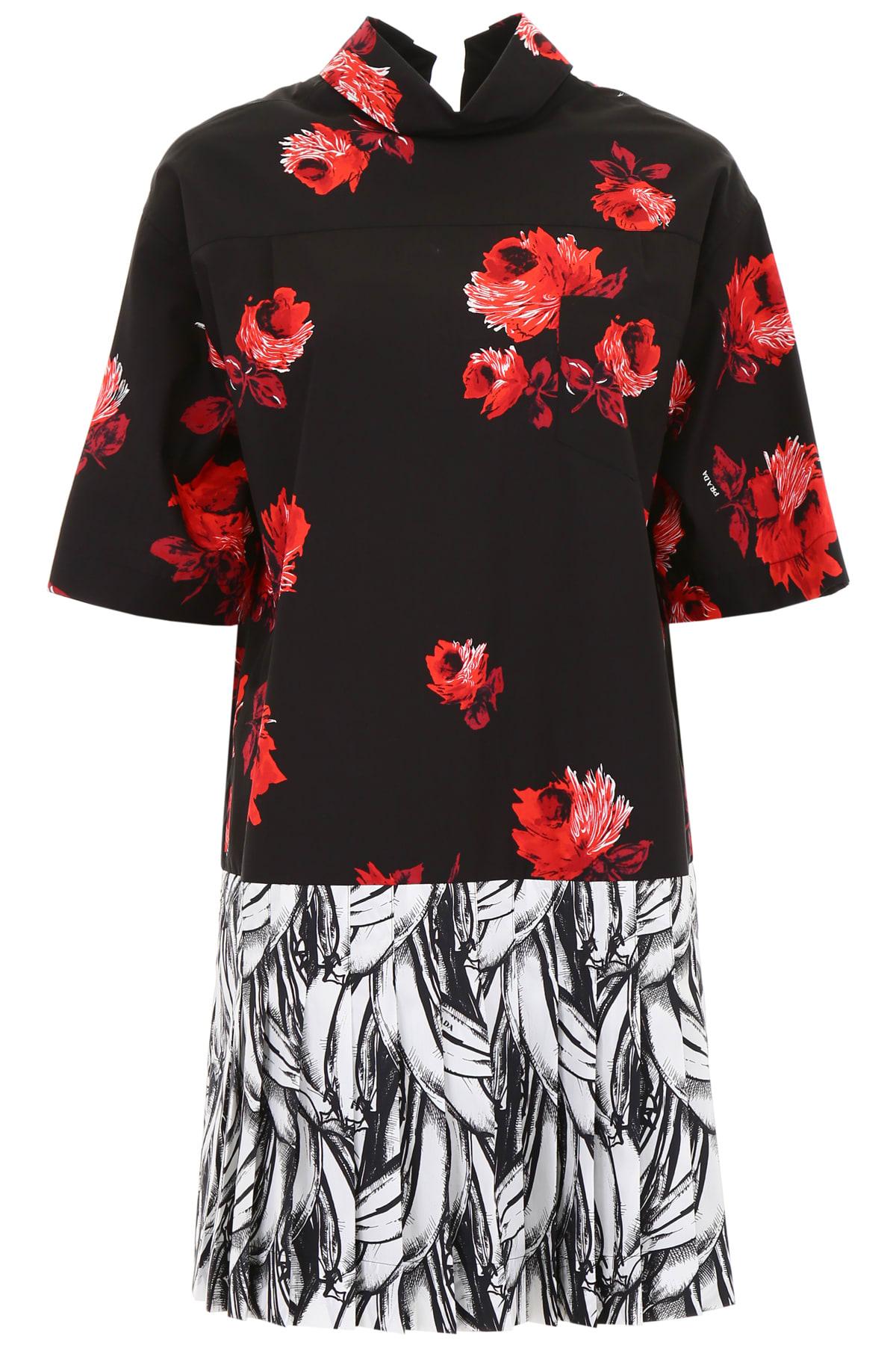 Prada Rose And Banana Print Dress