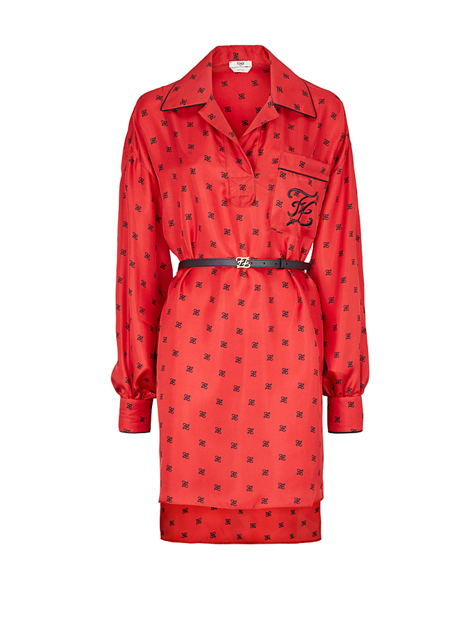 Buy Fendi Fendi Ff Motif Print Shirt Dress online, shop Fendi with free shipping