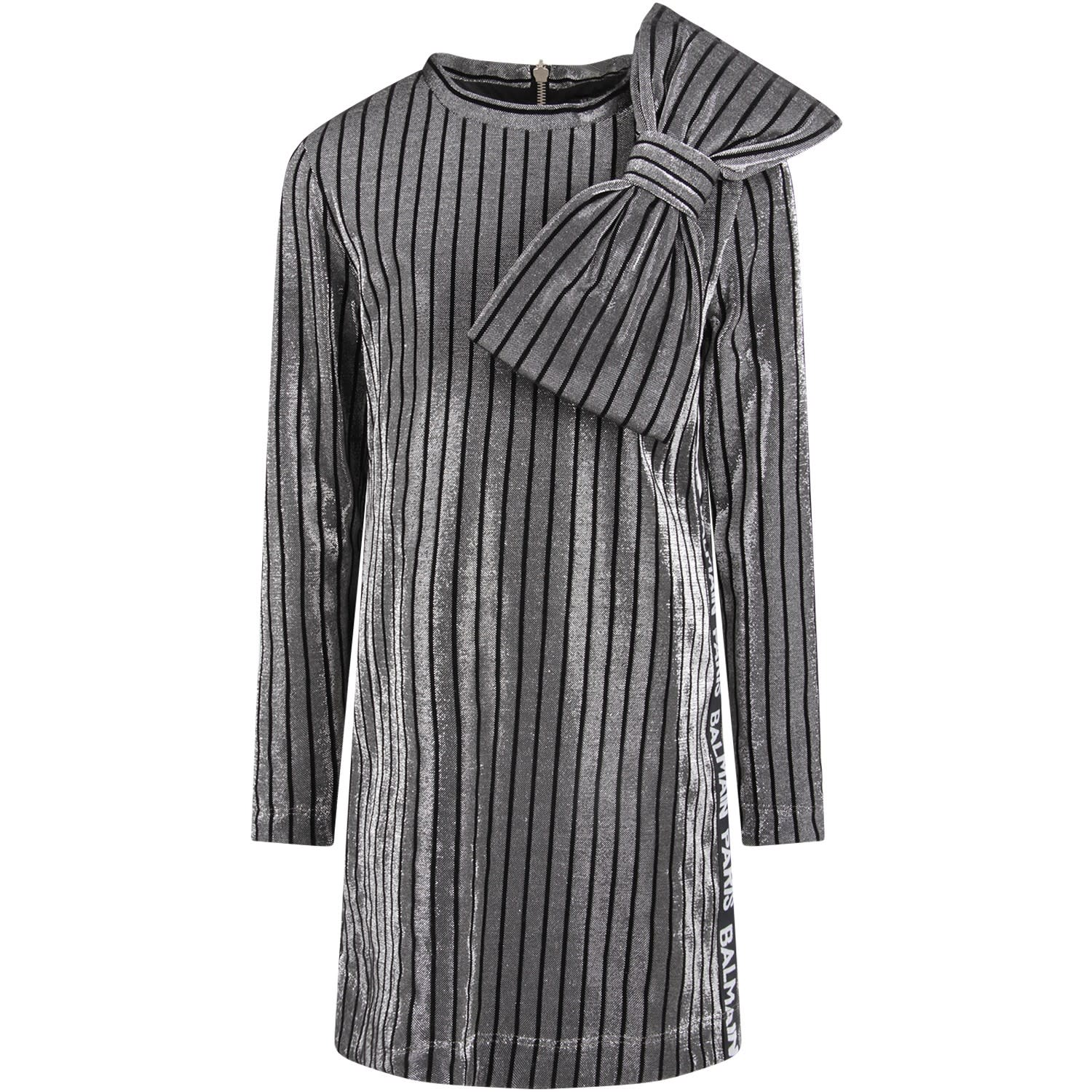 Balmain Black And Silver Girl Dress With Big Bow