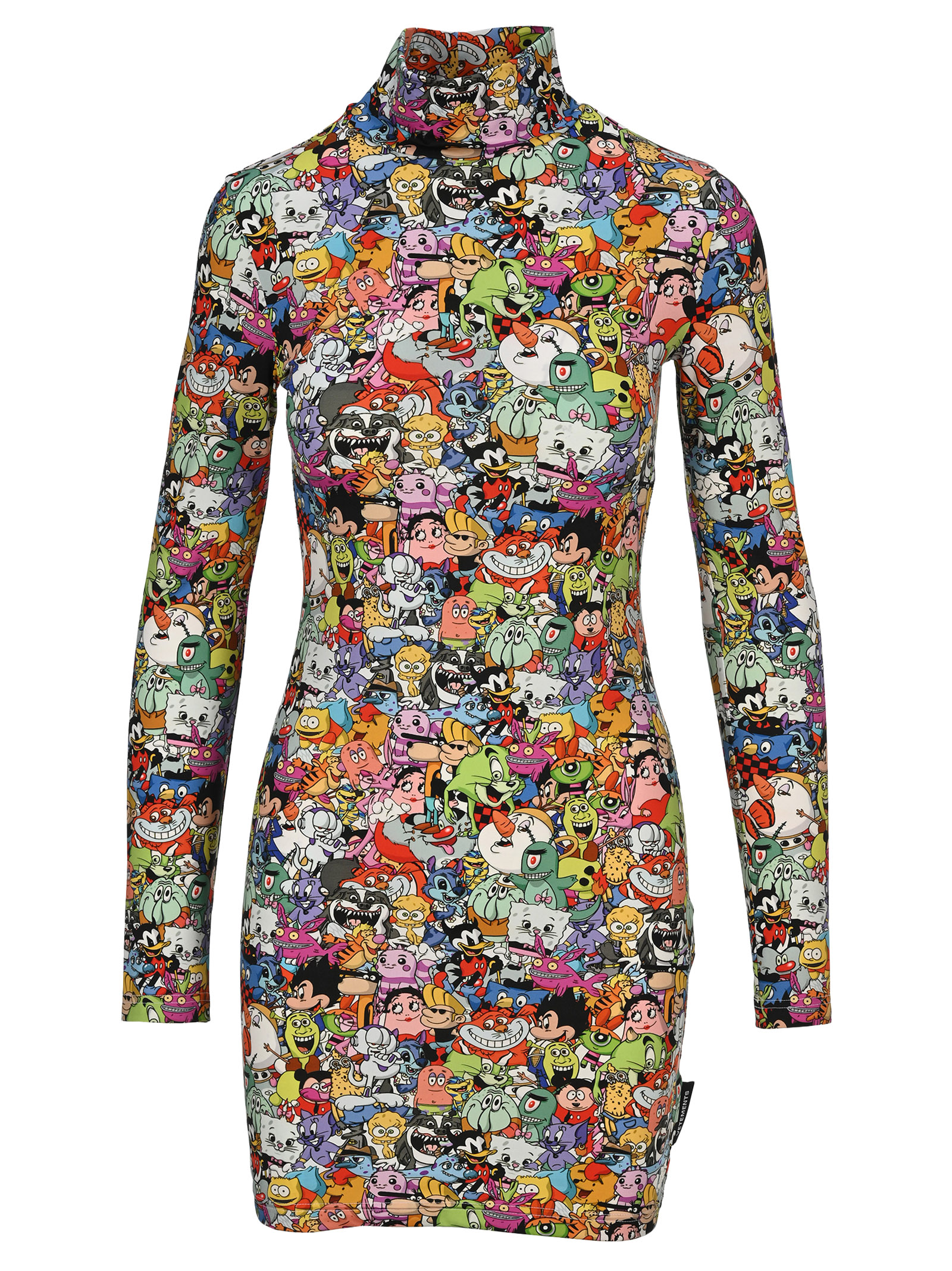 Buy Vetements Cartoon-print Turtleneck Mini Dress online, shop VETEMENTS with free shipping