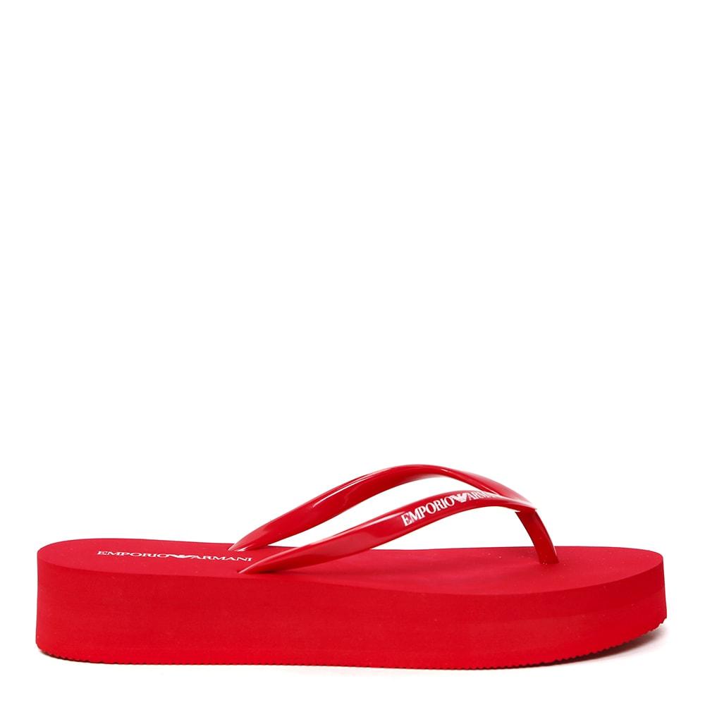 Emporio Armani Red Flip Flop With Logo