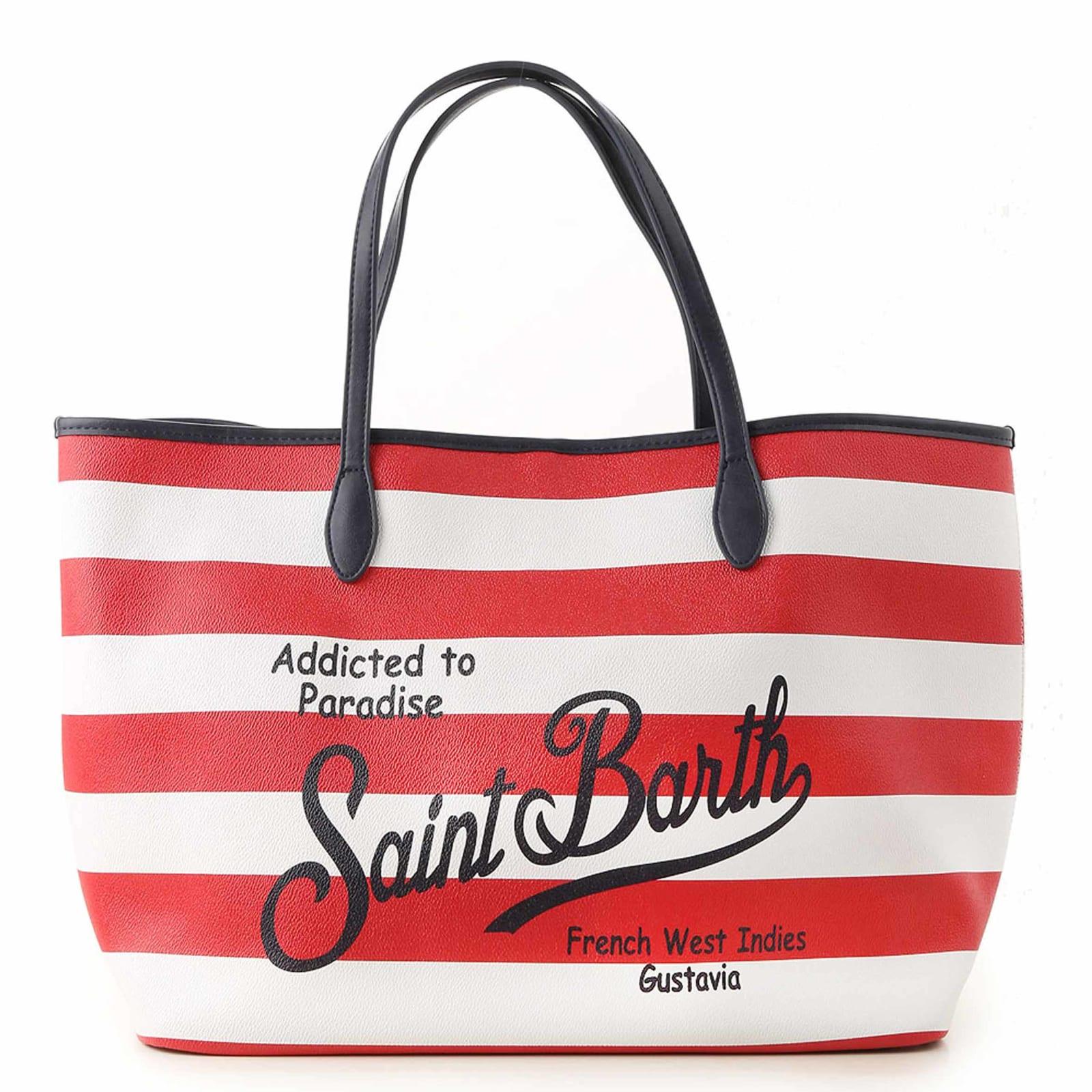 Red Striped Saint Barth Logo Bag