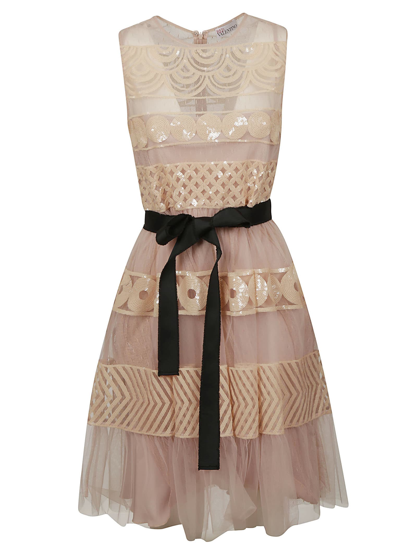 Buy RED Valentino Belted Flared Lace Dress online, shop RED Valentino with free shipping