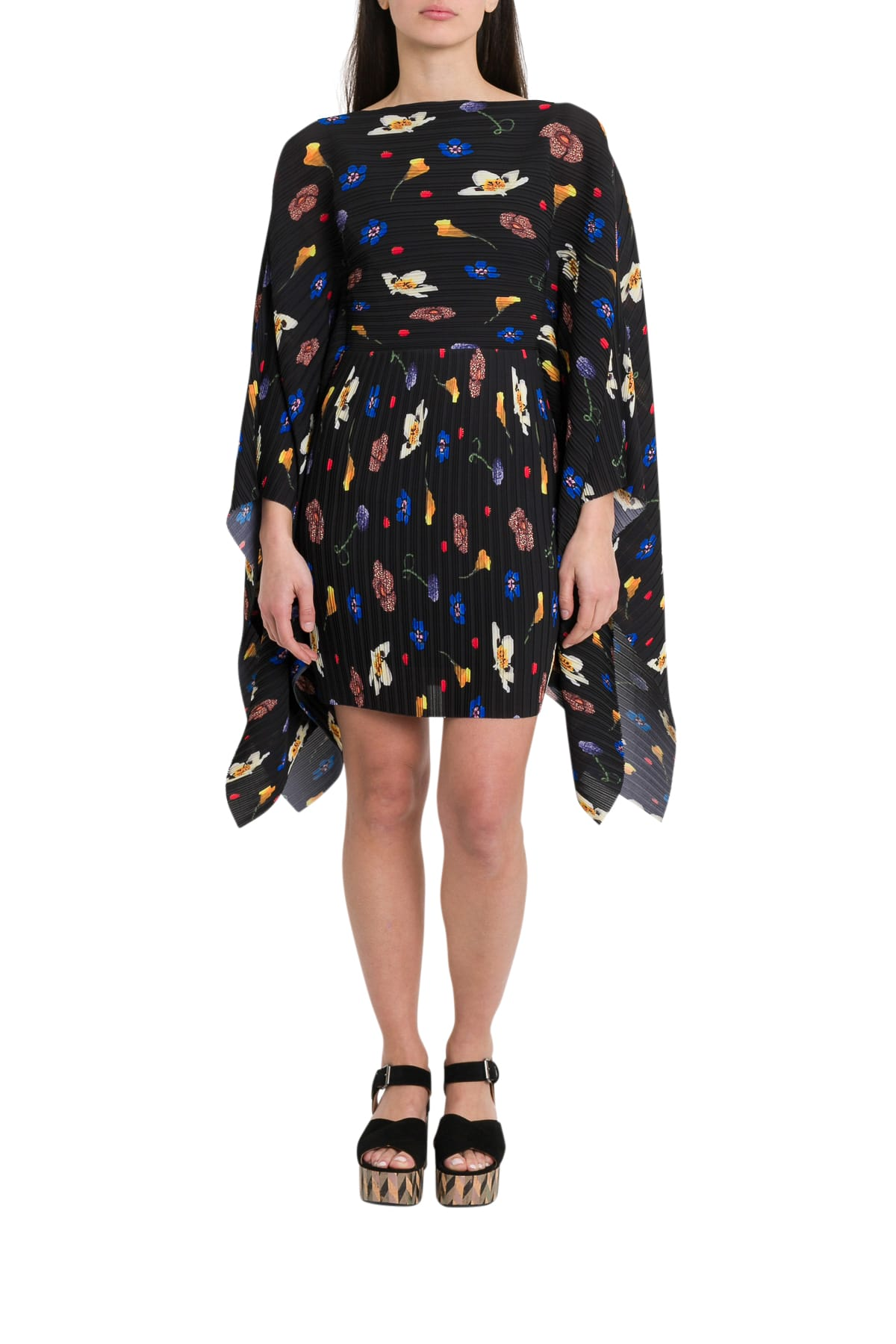 Solace London Chanton Floral-print Plissé-crepe Dress