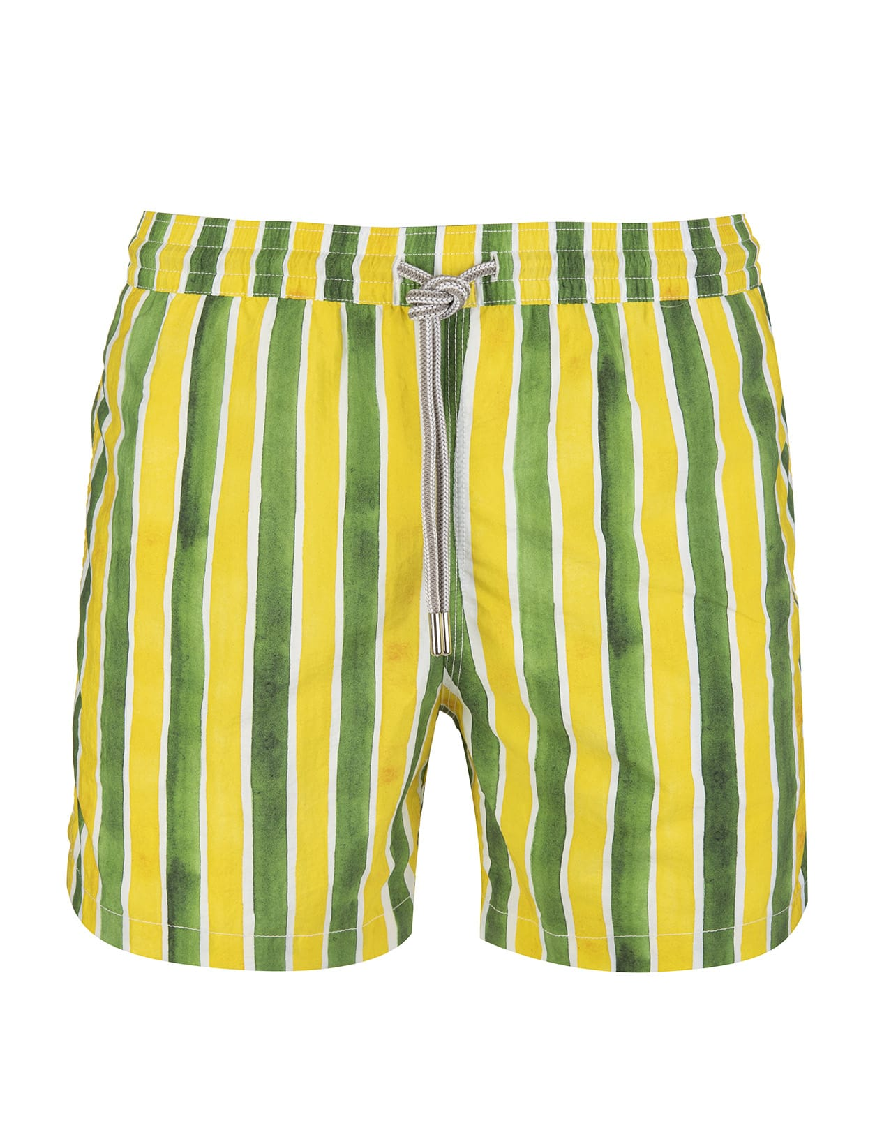 Green And Yellow Striped Swimsuit